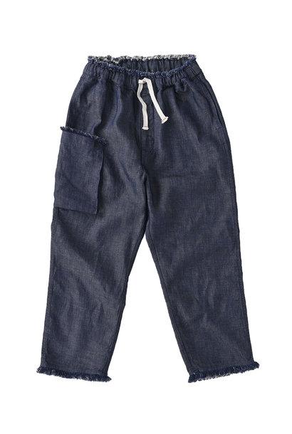 Indigo Cotton Linen Zakkuri Denim Easy Pants (0521)
