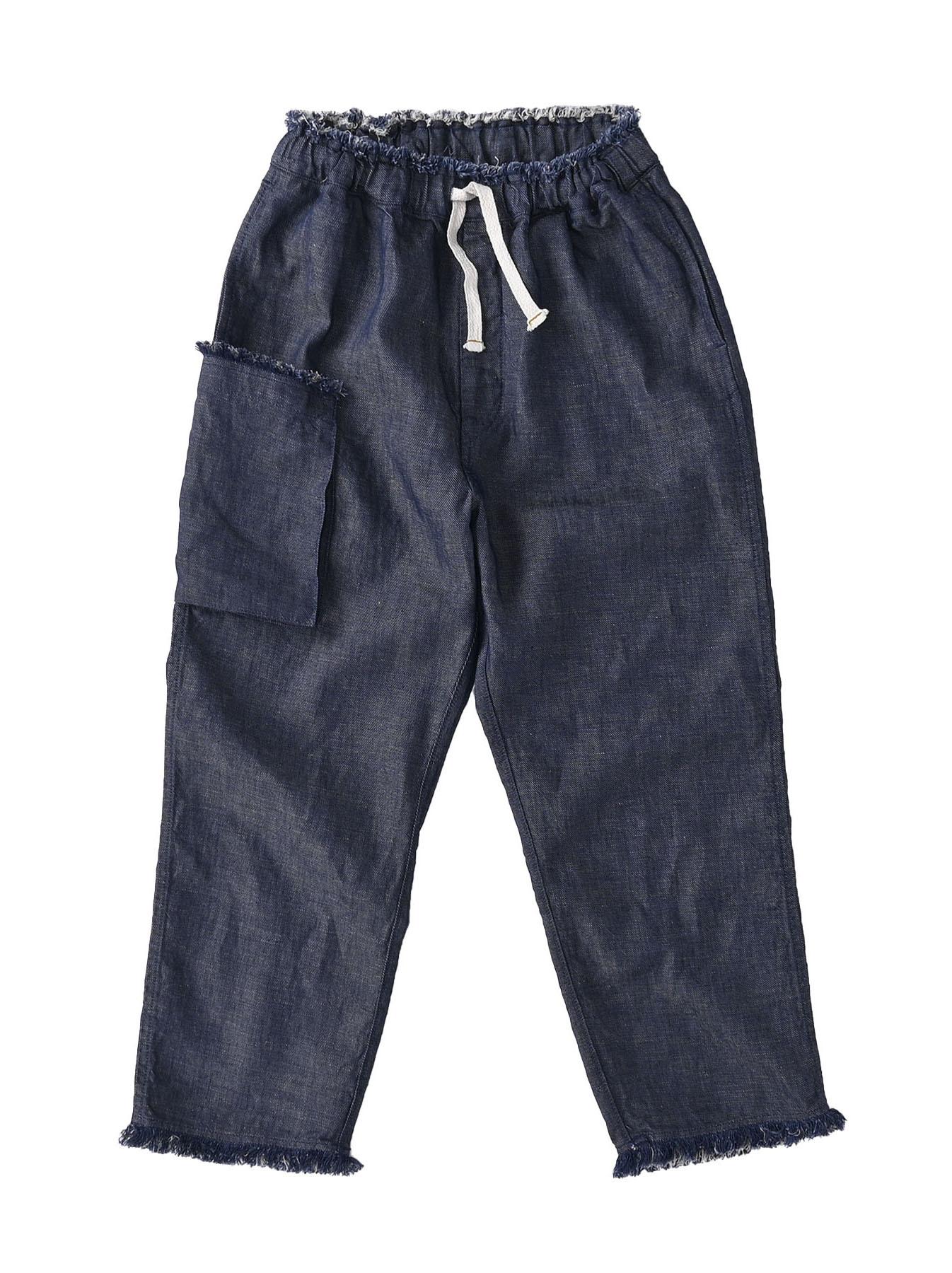 Indigo Cotton Linen Zakkuri Denim Easy Pants (0521)-1