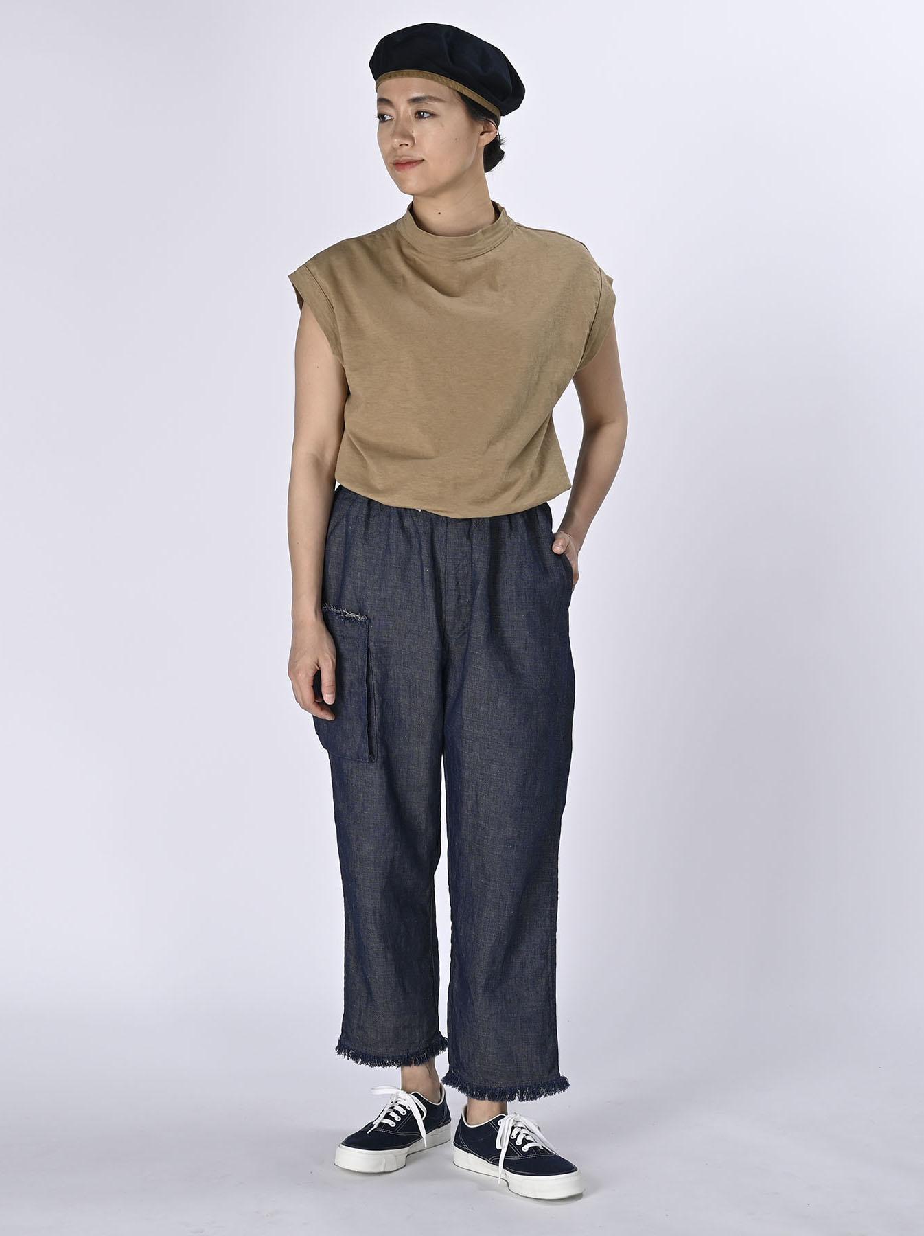 Indigo Cotton Linen Zakkuri Denim Easy Pants (0521)-2