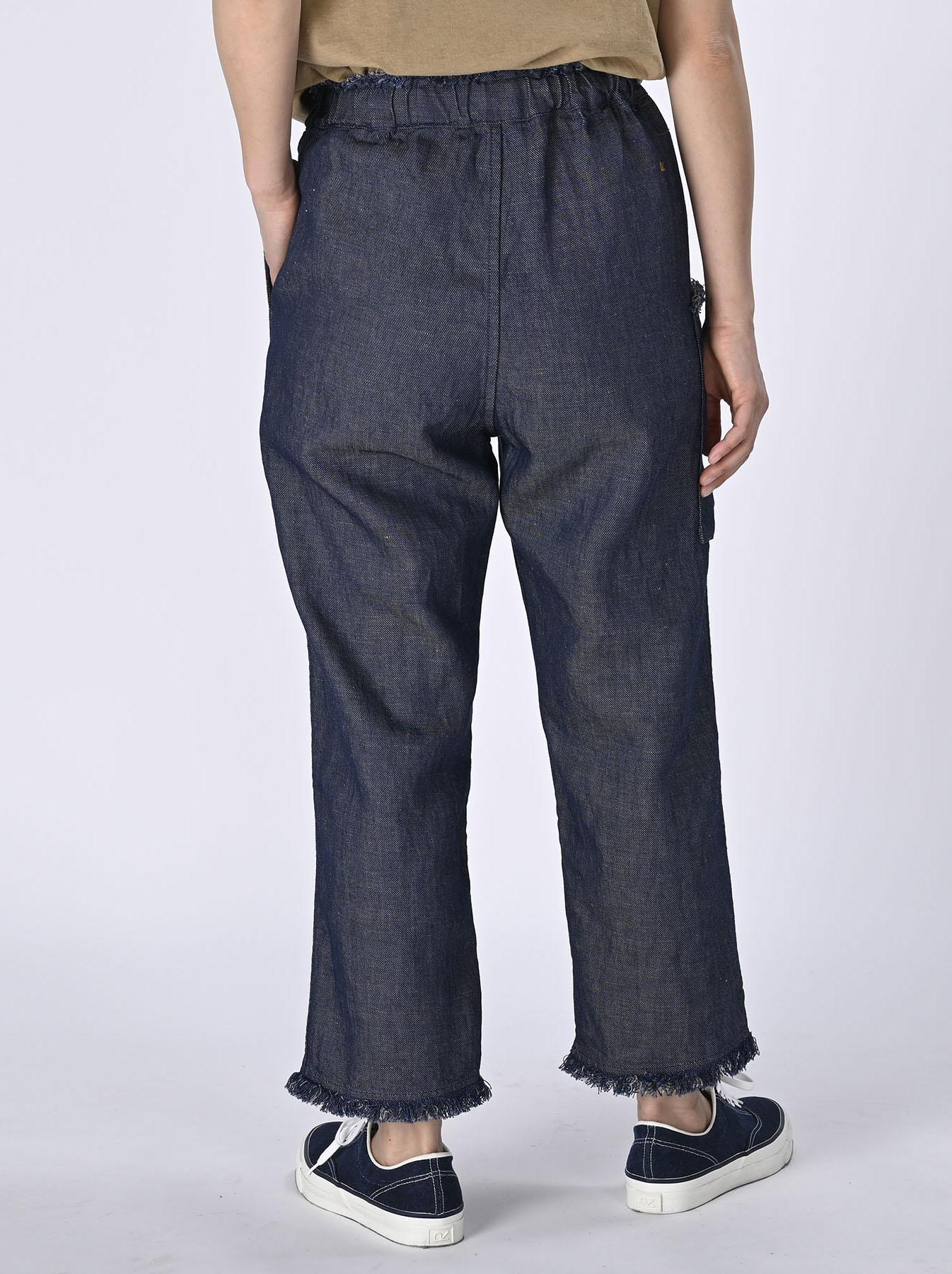 Indigo Cotton Linen Zakkuri Denim Easy Pants (0521)-5