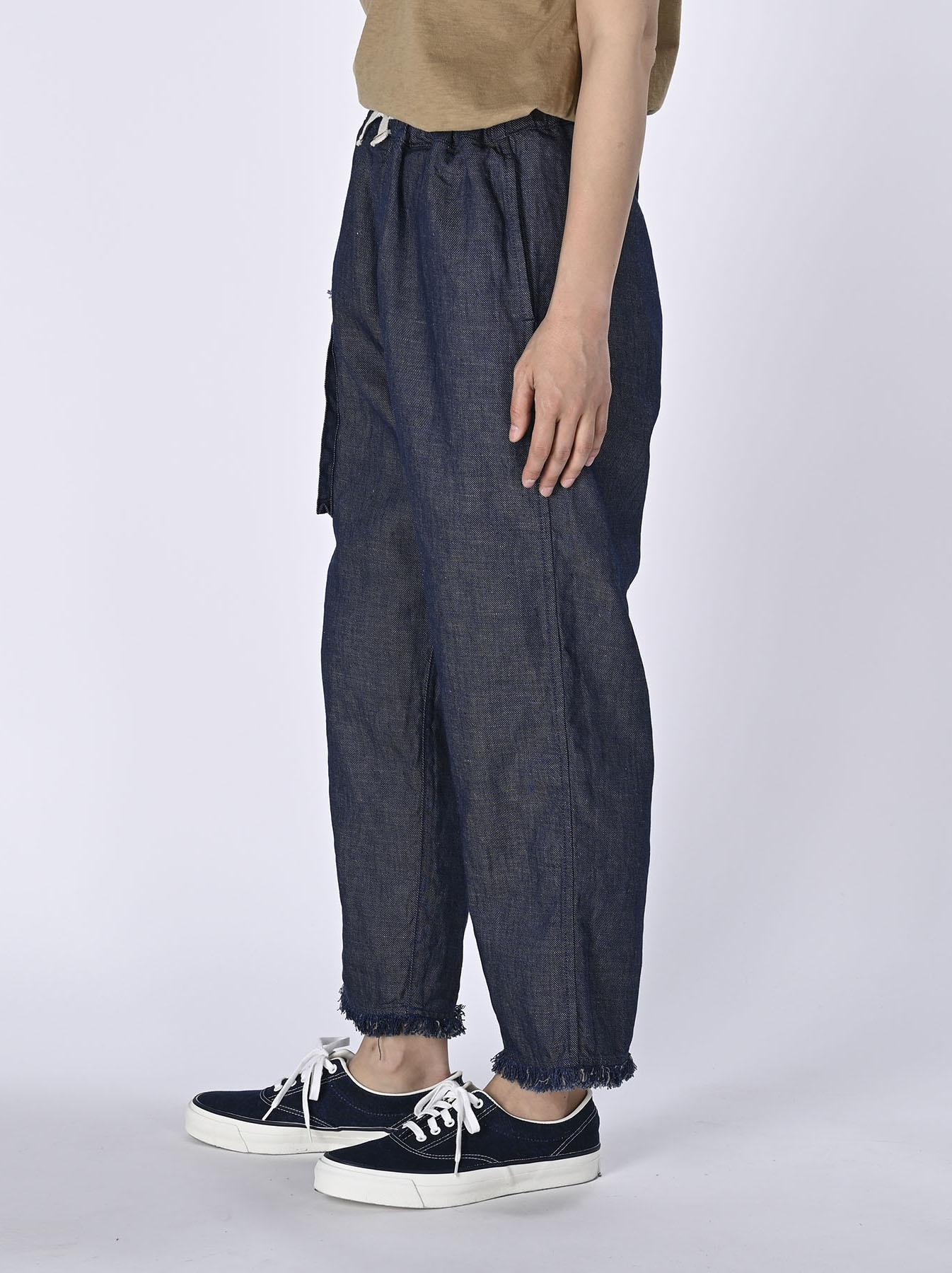 Indigo Cotton Linen Zakkuri Denim Easy Pants (0521)-4