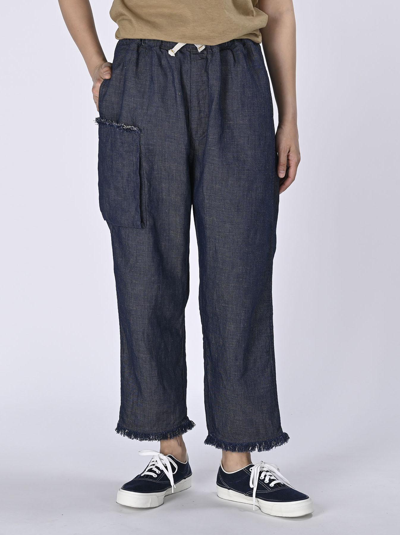 Indigo Cotton Linen Zakkuri Denim Easy Pants (0521)-3