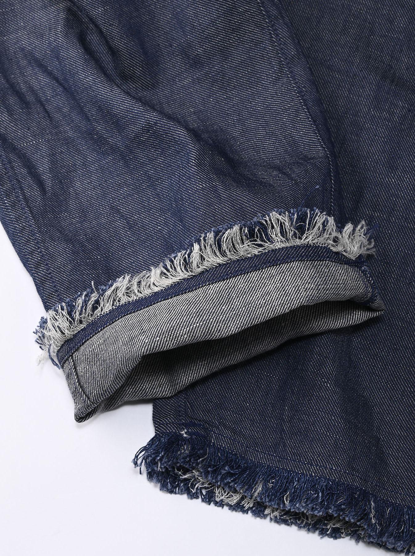 Indigo Cotton Linen Zakkuri Denim Easy Pants (0521)-10