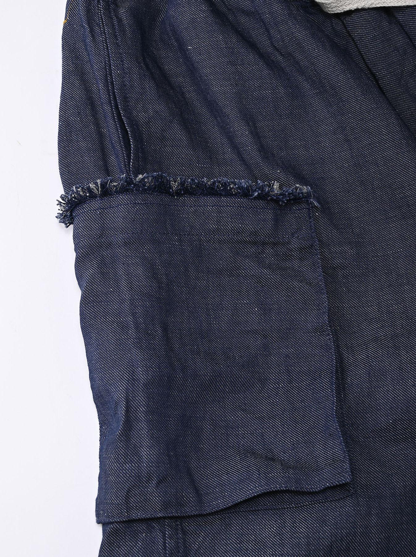 Indigo Cotton Linen Zakkuri Denim Easy Pants (0521)-11
