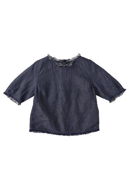Indigo Cotton Linen Zakkuri Denim Blouse (0521)