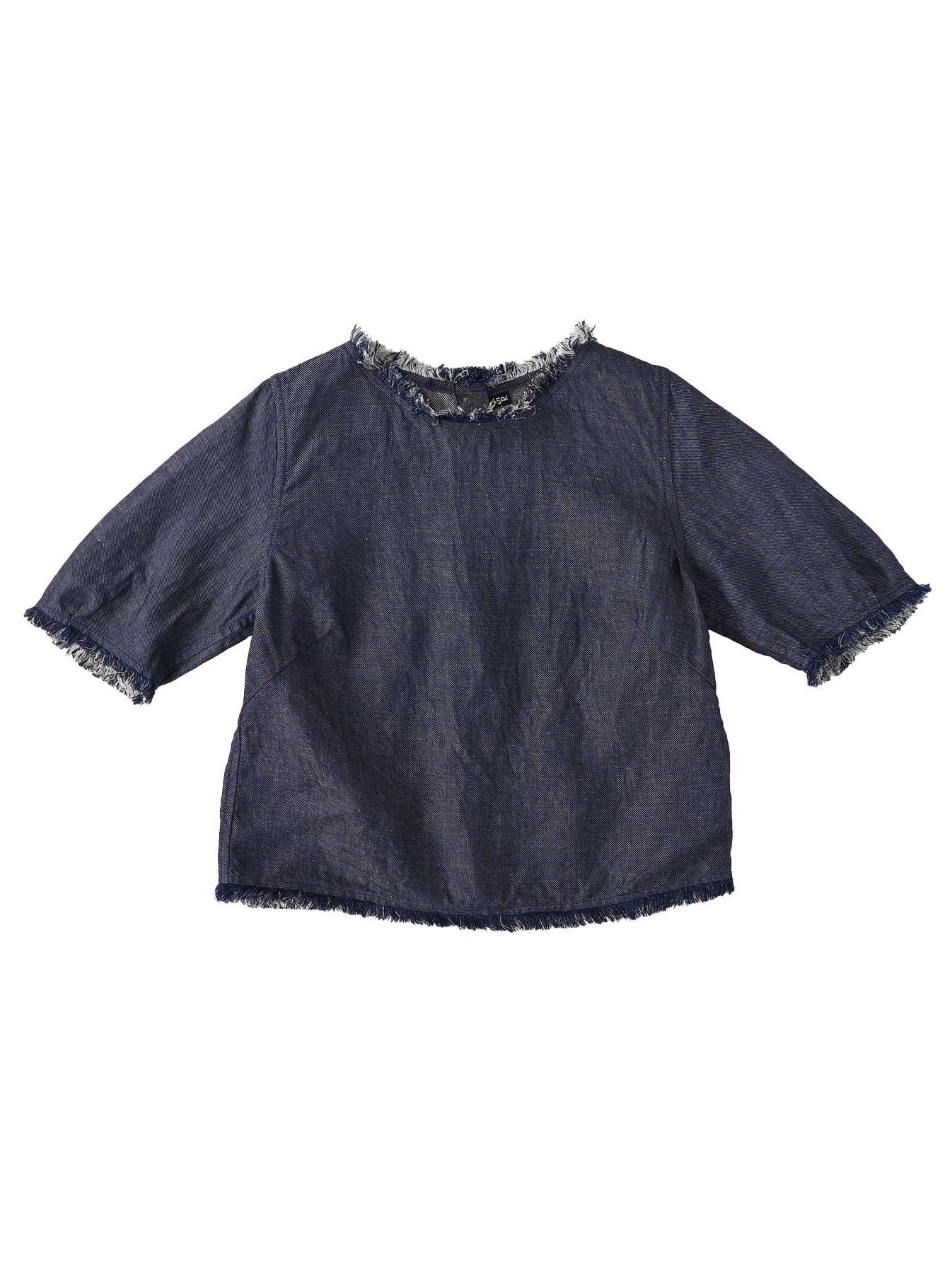 Indigo Cotton Linen Zakkuri Denim Blouse (0521)-1