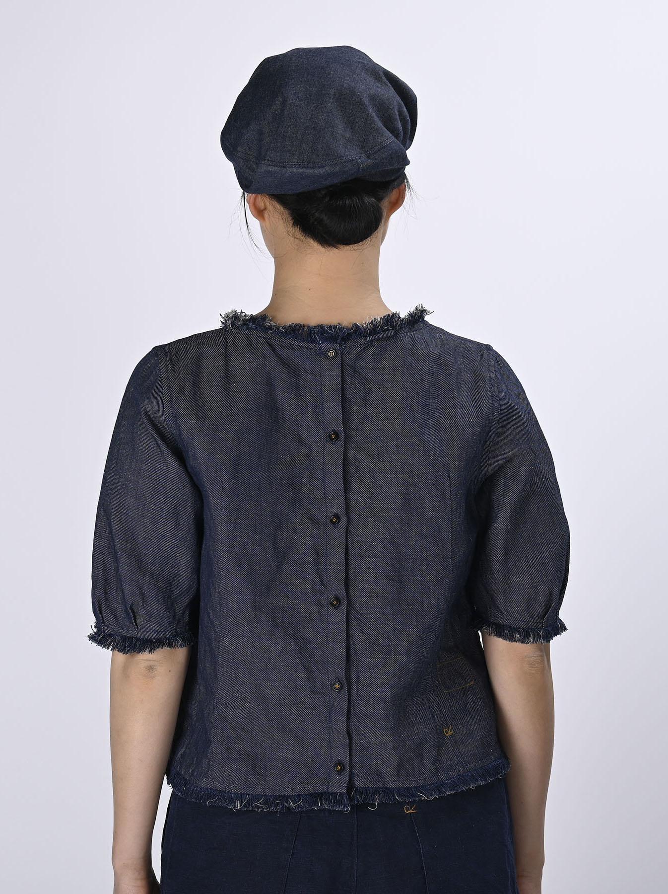 Indigo Cotton Linen Zakkuri Denim Blouse (0521)-5