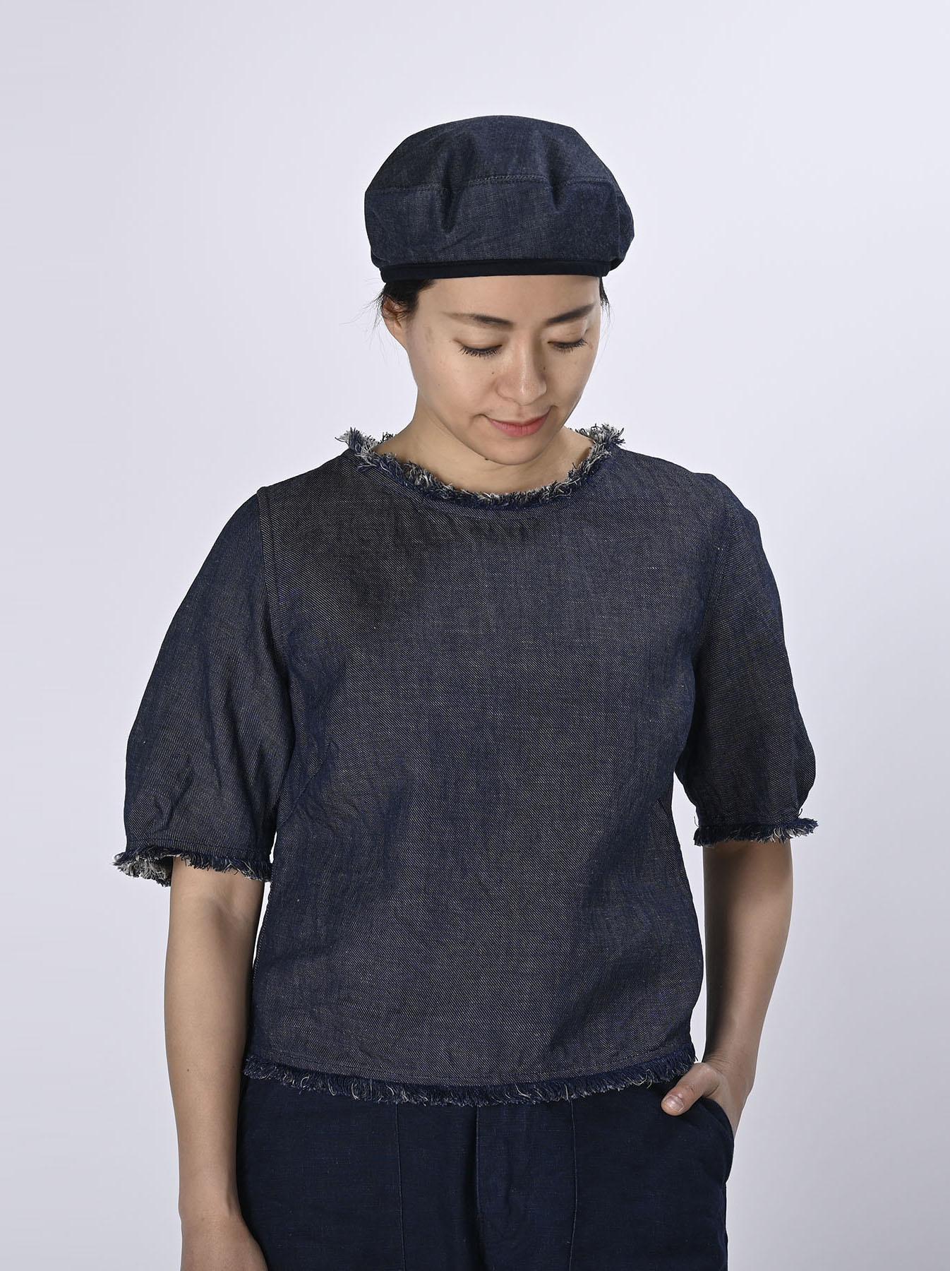 Indigo Cotton Linen Zakkuri Denim Blouse (0521)-3