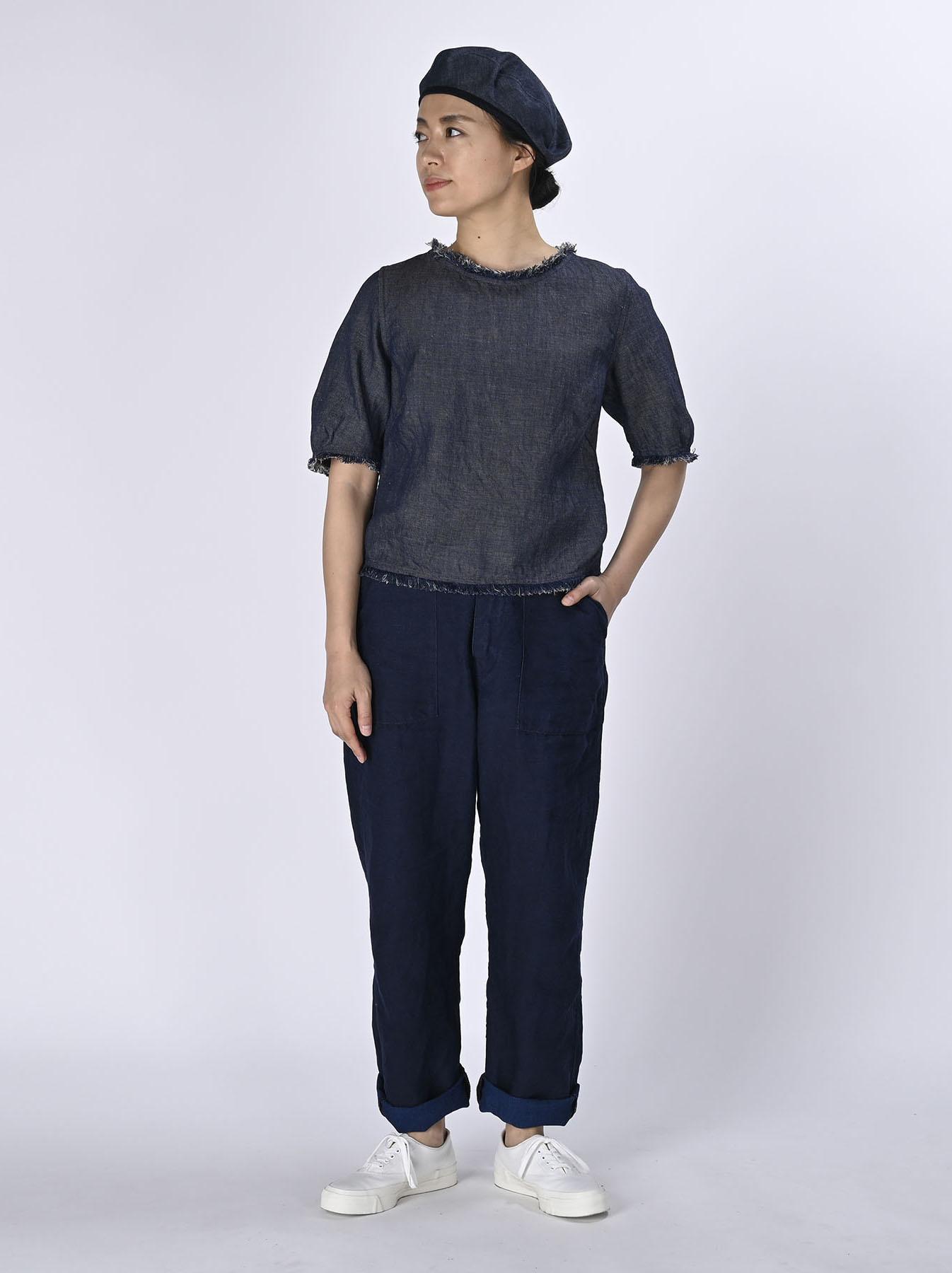 Indigo Cotton Linen Zakkuri Denim Blouse (0521)-2