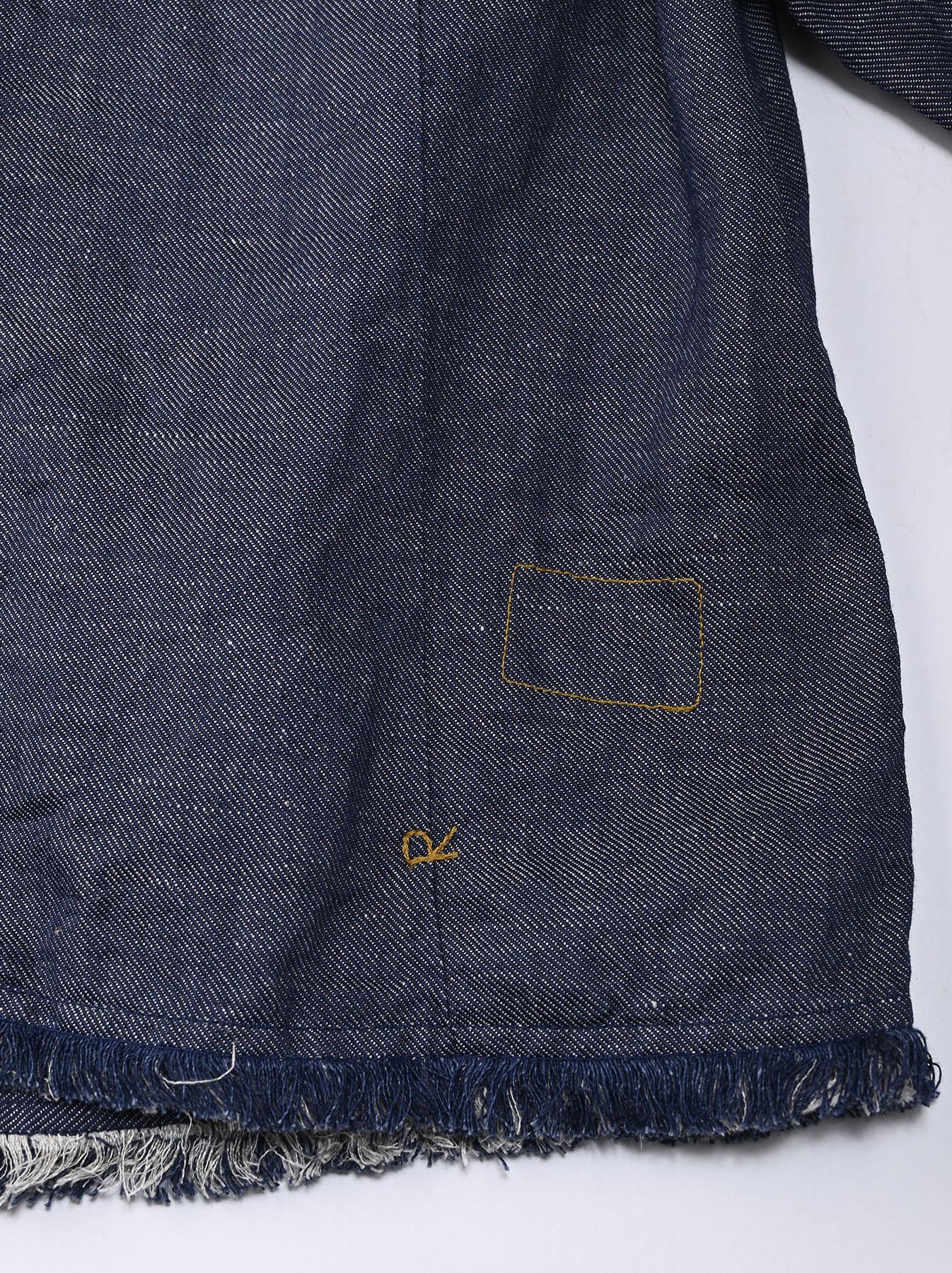 Indigo Cotton Linen Zakkuri Denim Blouse (0521)-12