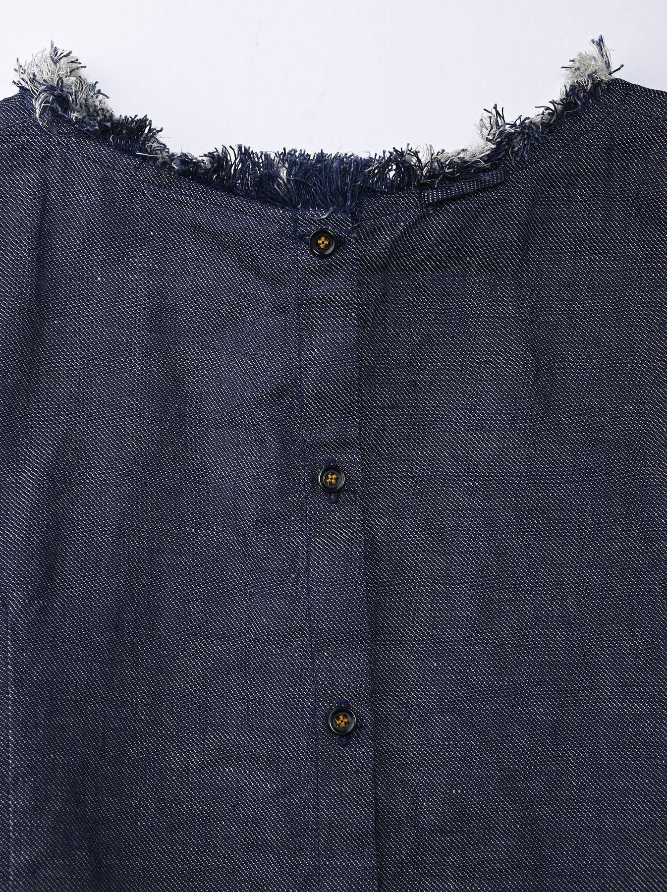 Indigo Cotton Linen Zakkuri Denim Blouse (0521)-9