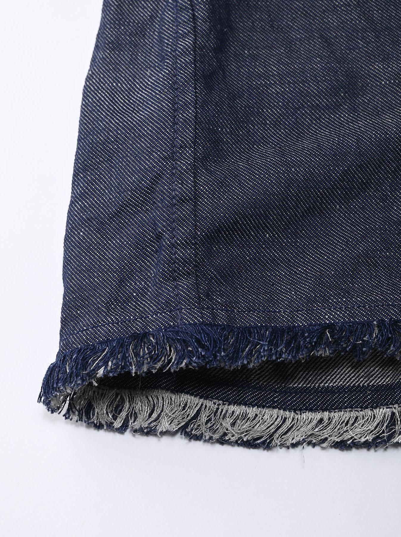Indigo Cotton Linen Zakkuri Denim Blouse (0521)-10