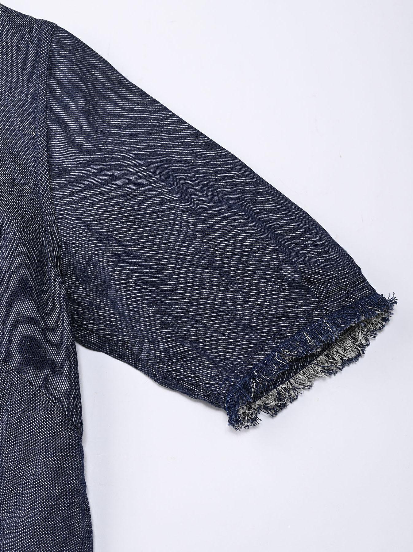 Indigo Cotton Linen Zakkuri Denim Blouse (0521)-11