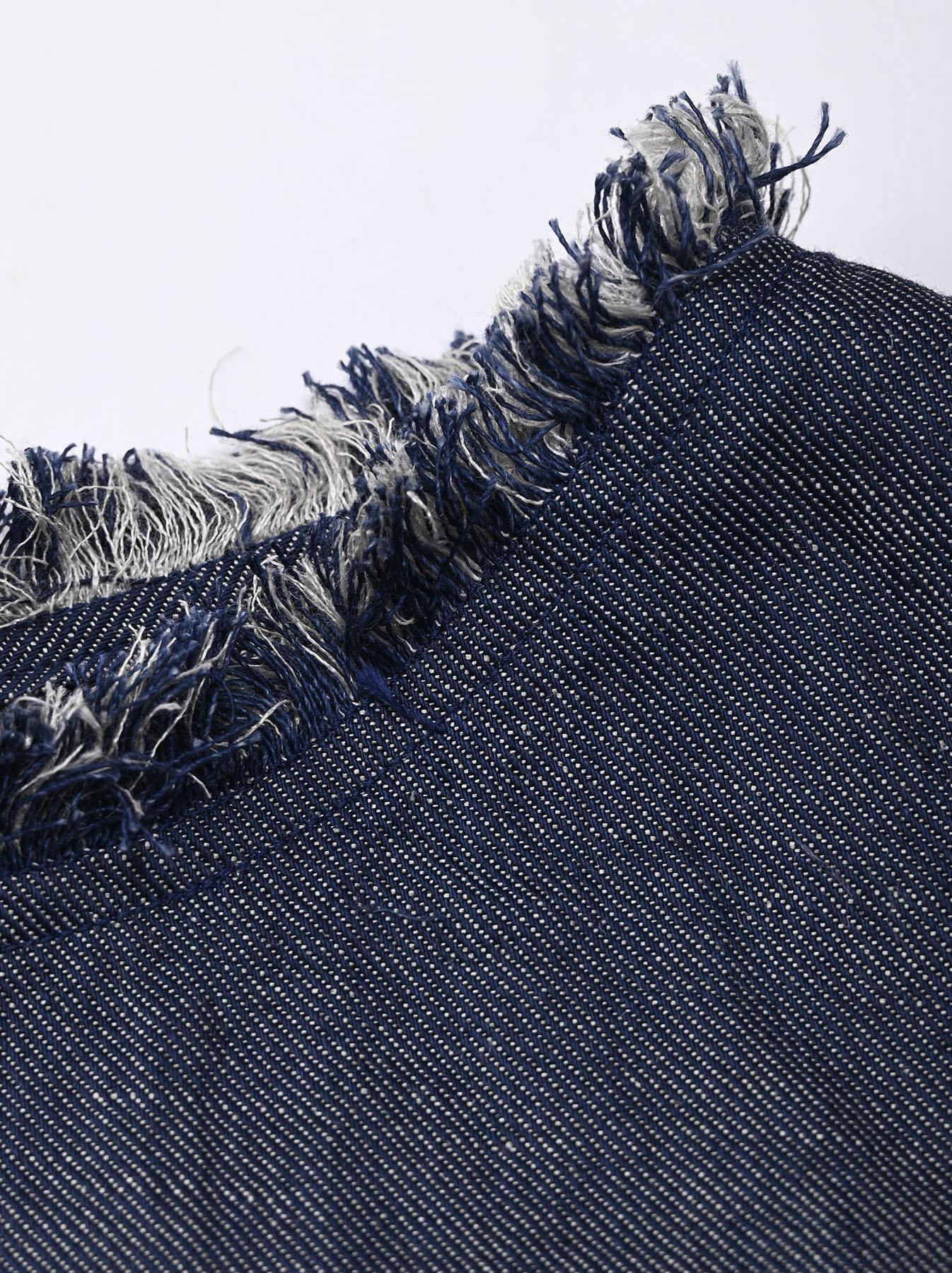 Indigo Cotton Linen Zakkuri Denim Blouse (0521)-8