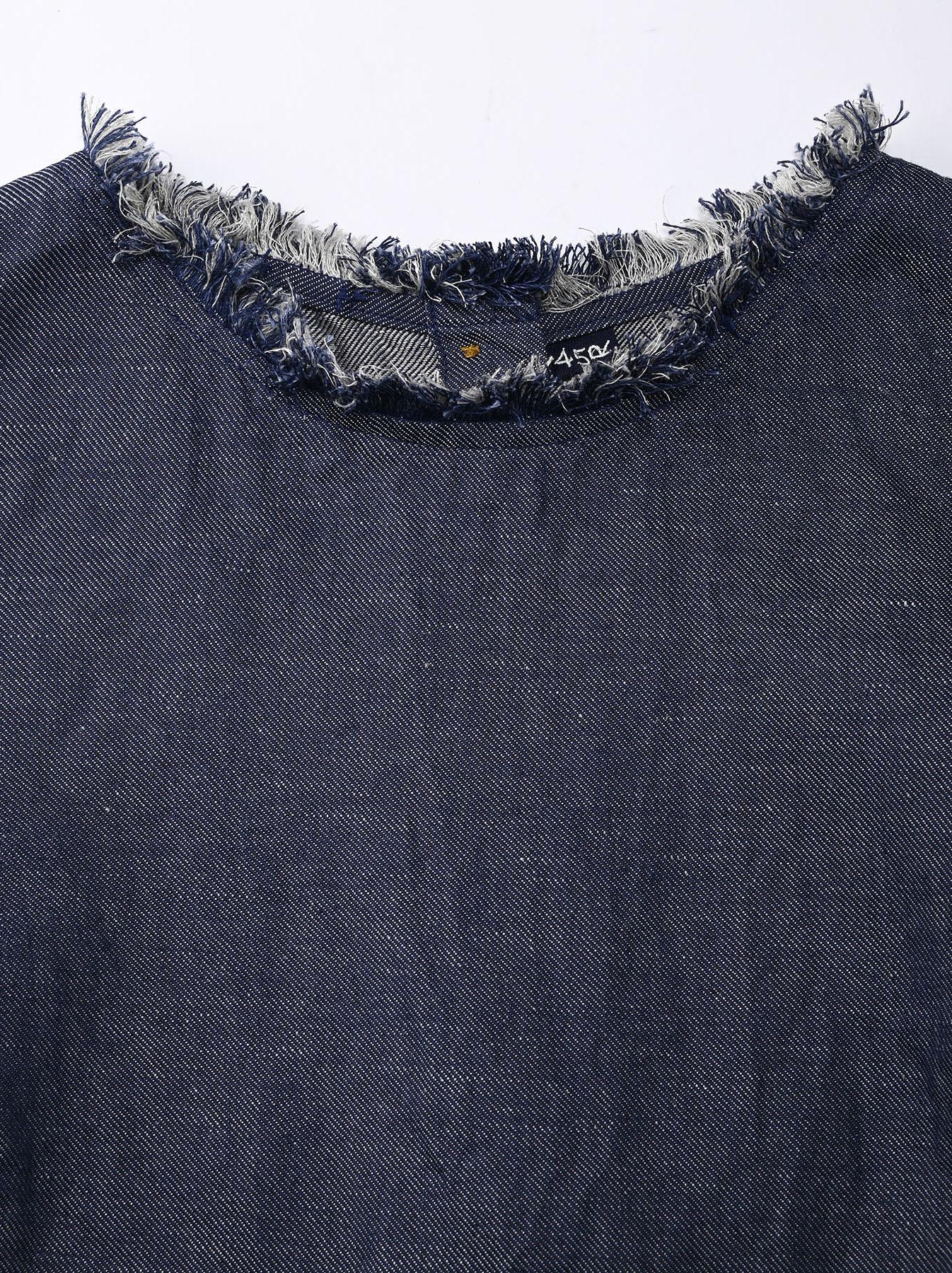 Indigo Cotton Linen Zakkuri Denim Blouse (0521)-7