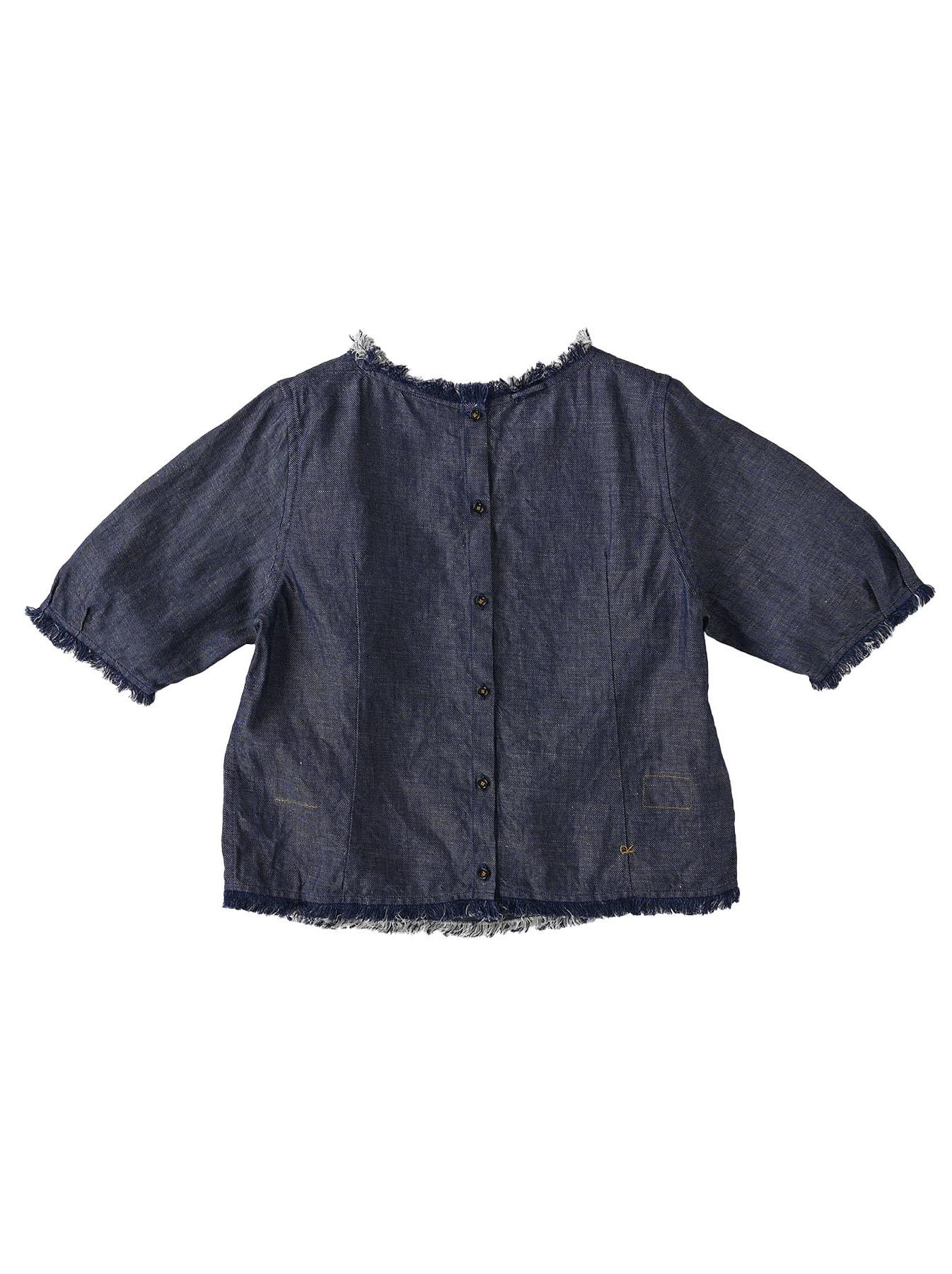 Indigo Cotton Linen Zakkuri Denim Blouse (0521)-6