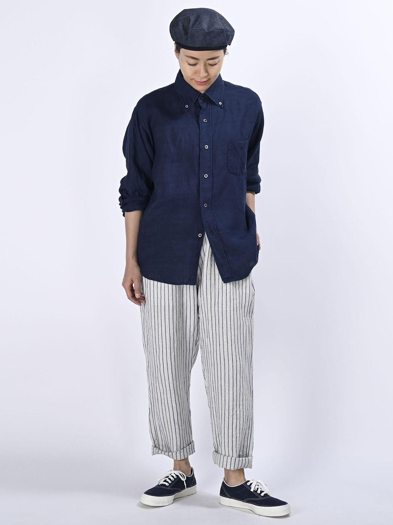 Indigo Indian Linen Flat 908 Ocean Shirt (0521)-2