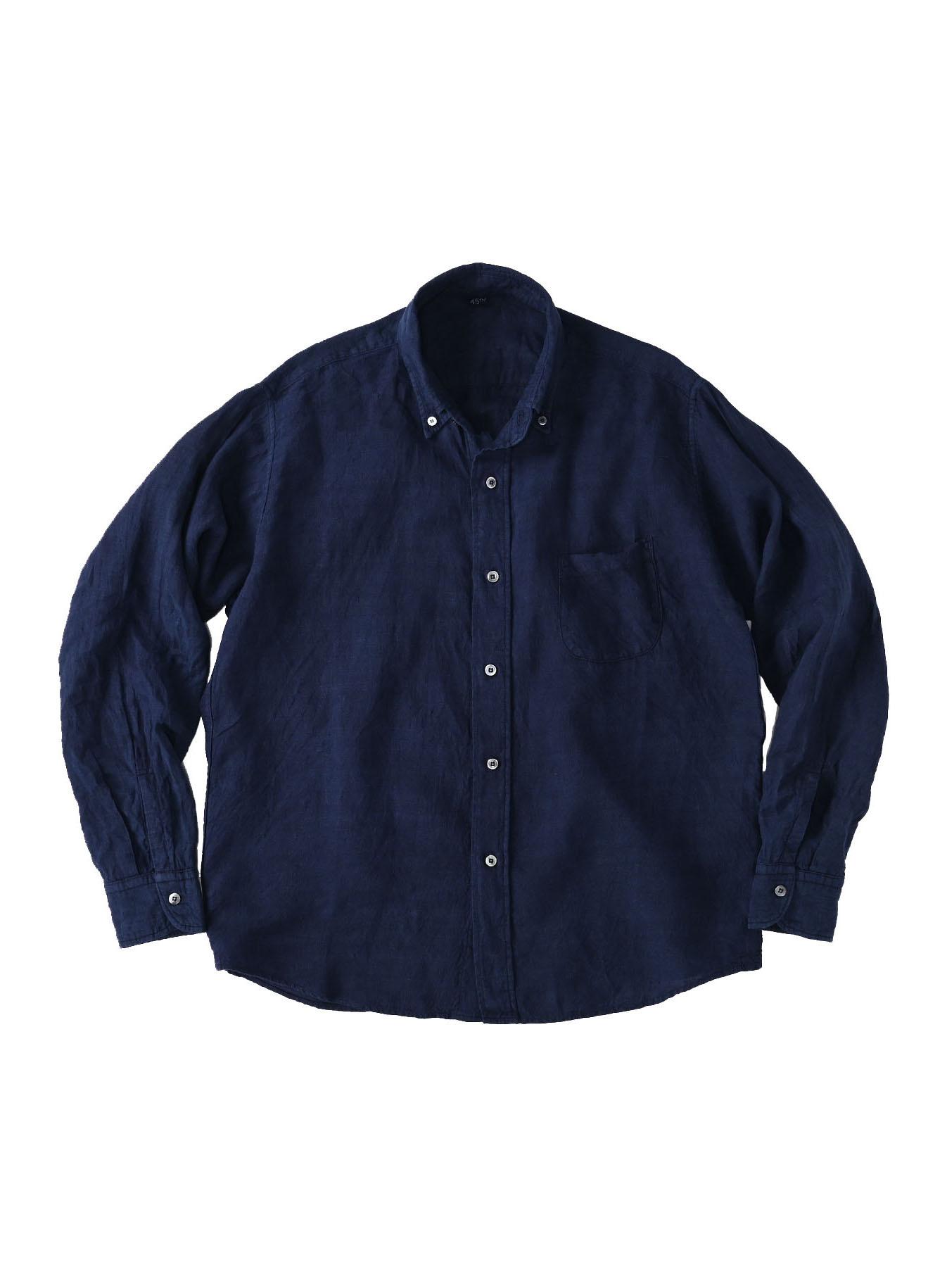 Indigo Indian Linen Flat 908 Ocean Shirt (0521)-1
