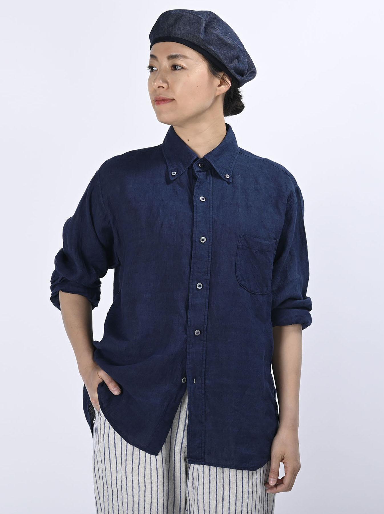 Indigo Indian Linen Flat 908 Ocean Shirt (0521)-3
