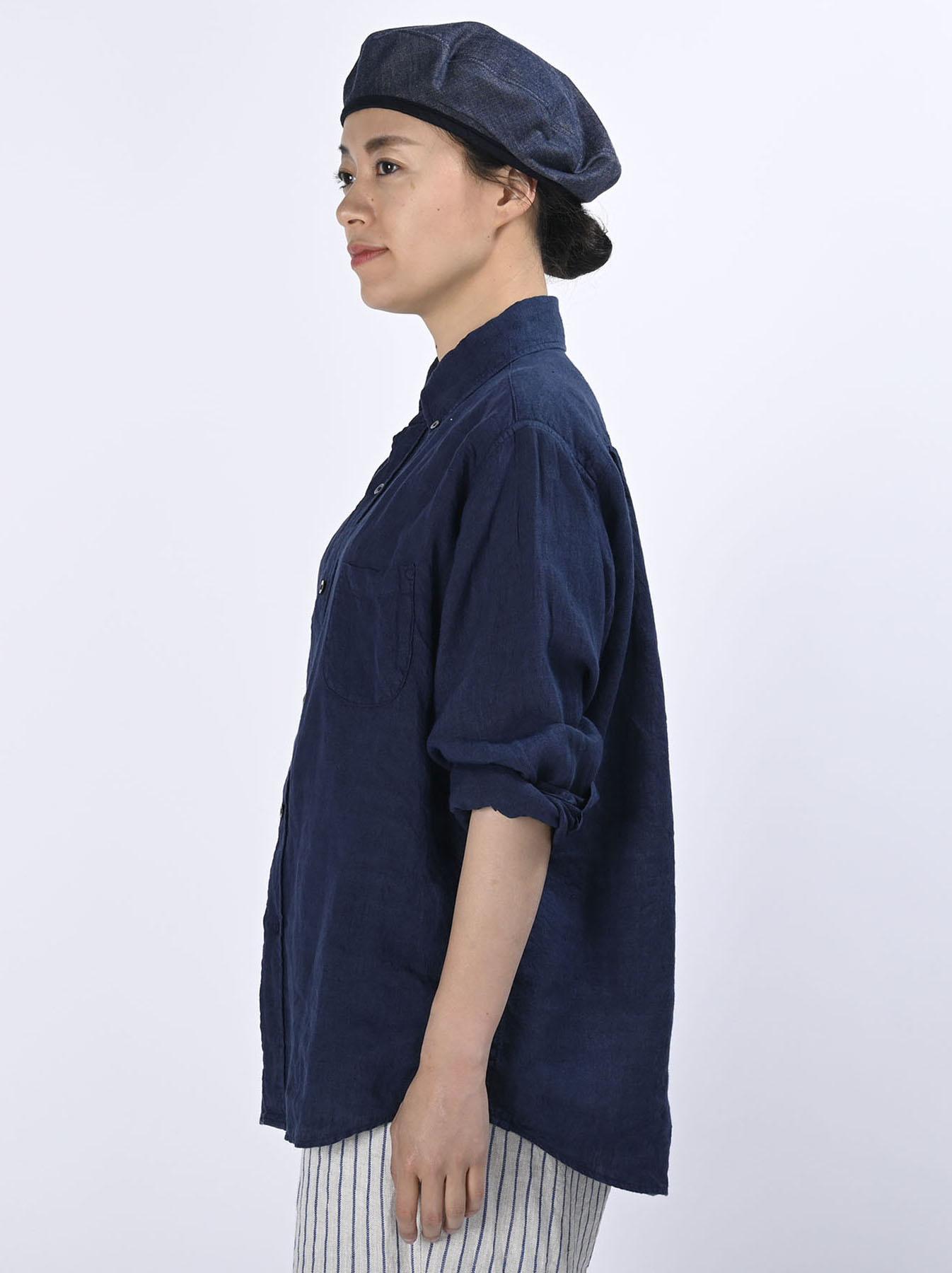 Indigo Indian Linen Flat 908 Ocean Shirt (0521)-4