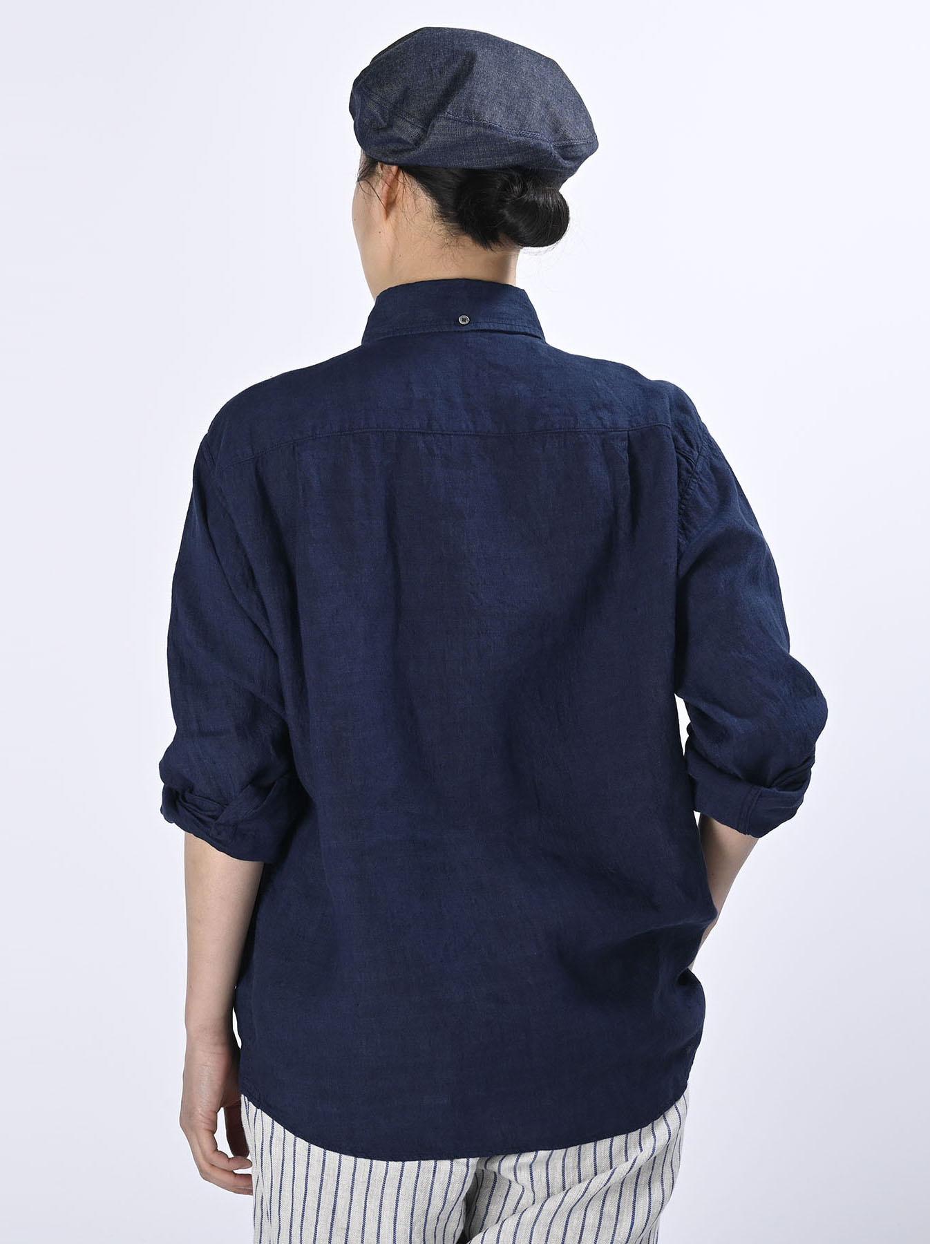Indigo Indian Linen Flat 908 Ocean Shirt (0521)-5