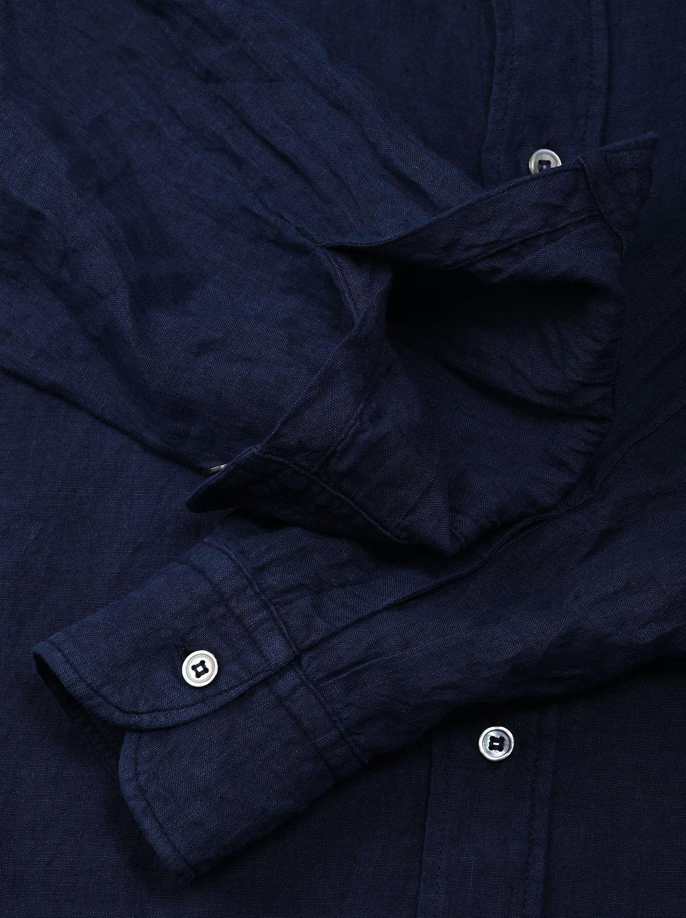 Indigo Indian Linen Flat 908 Ocean Shirt (0521)-10