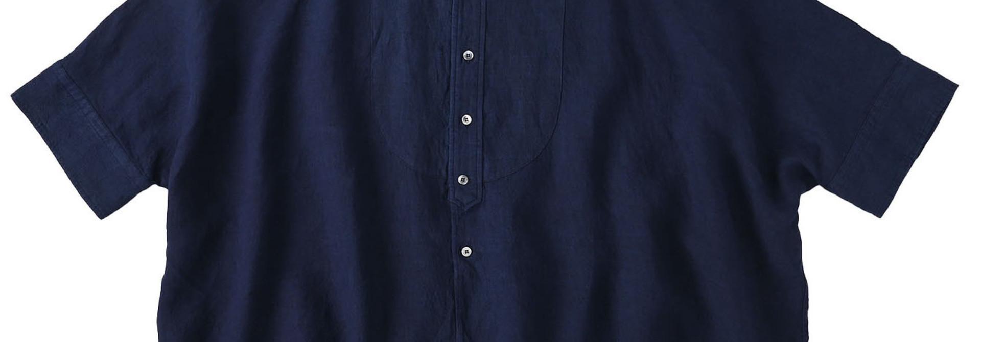 Indigo Indian Linen Flat Big Shirt (0521)
