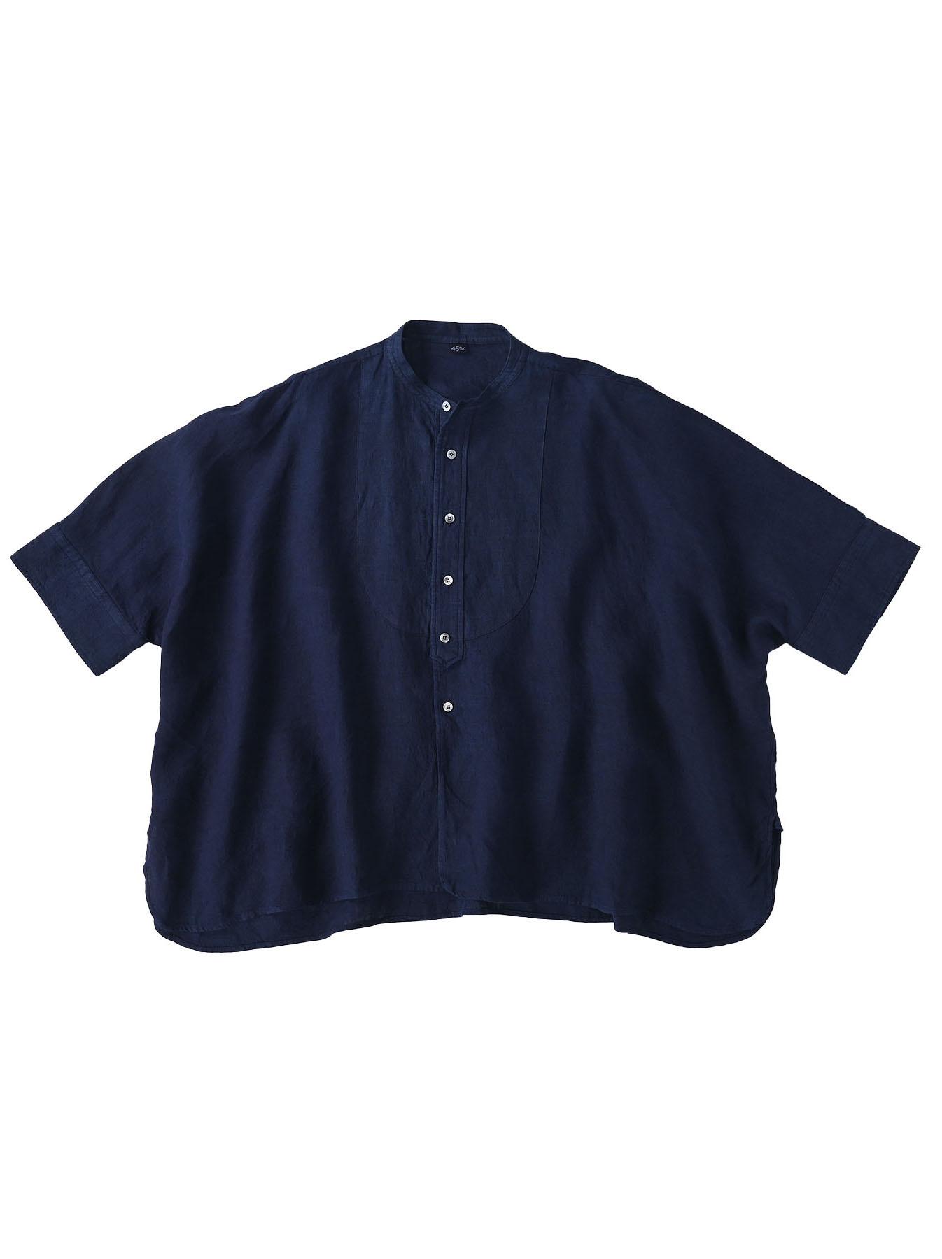 Indigo Indian Linen Flat Big Shirt (0521)-1