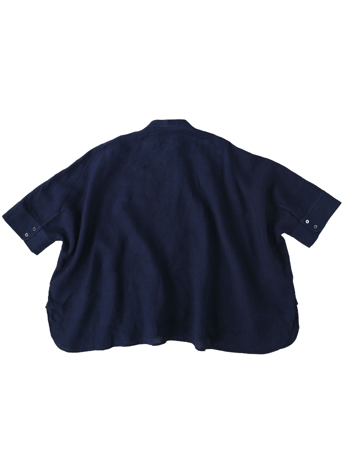Indigo Indian Linen Flat Big Shirt (0521)-6