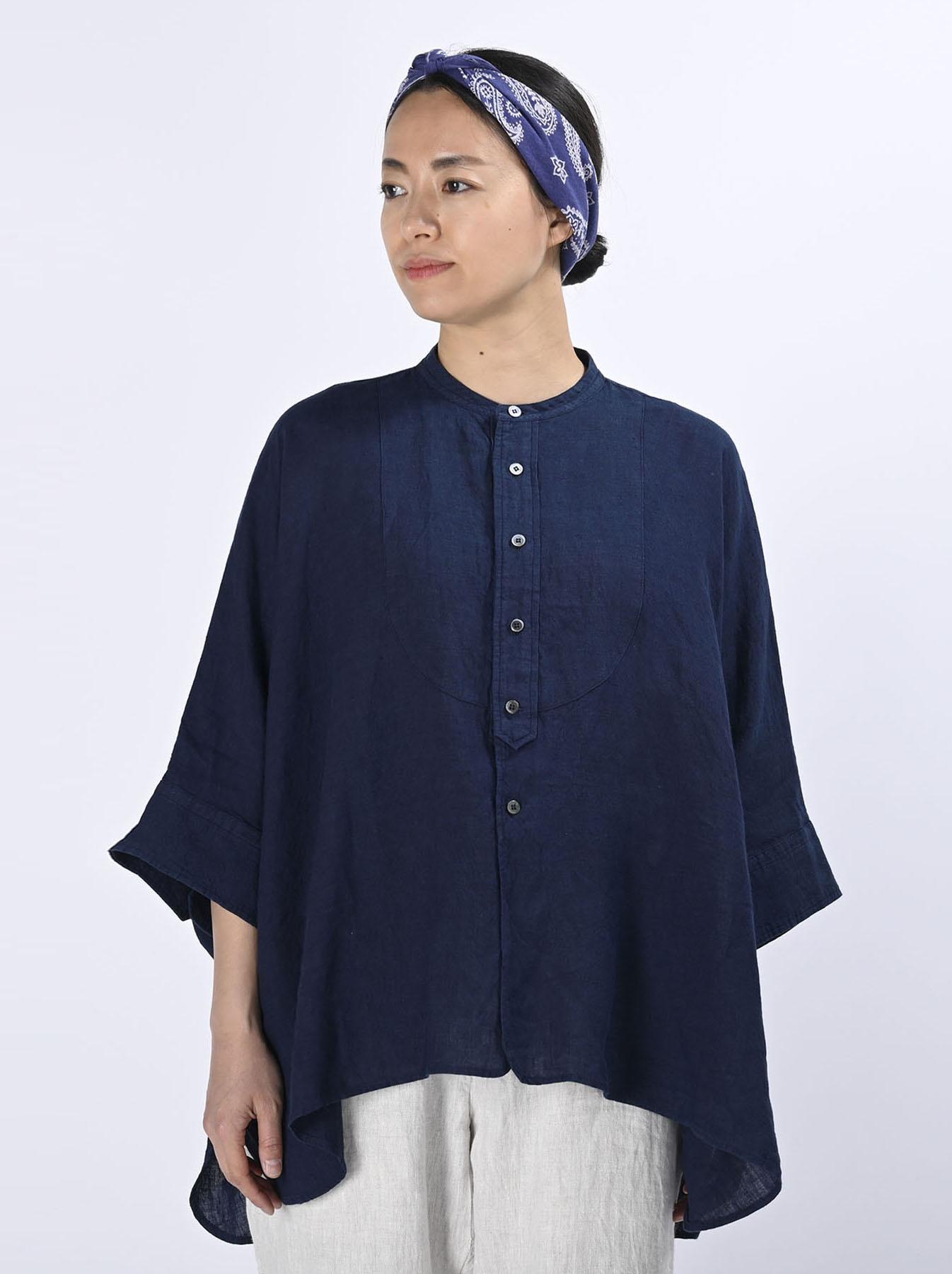 Indigo Indian Linen Flat Big Shirt (0521)-3