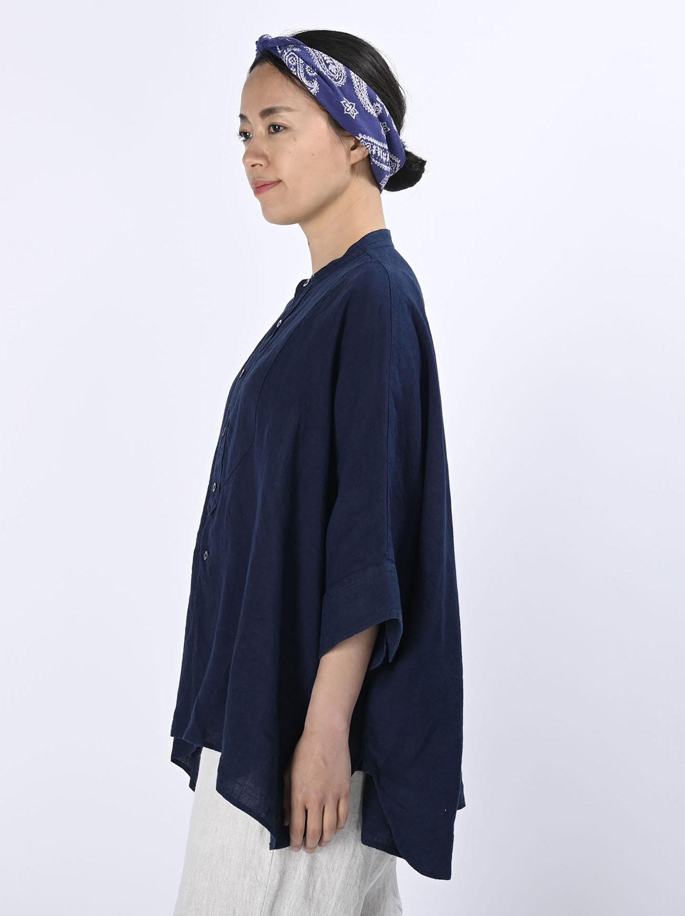 Indigo Indian Linen Flat Big Shirt (0521)-4
