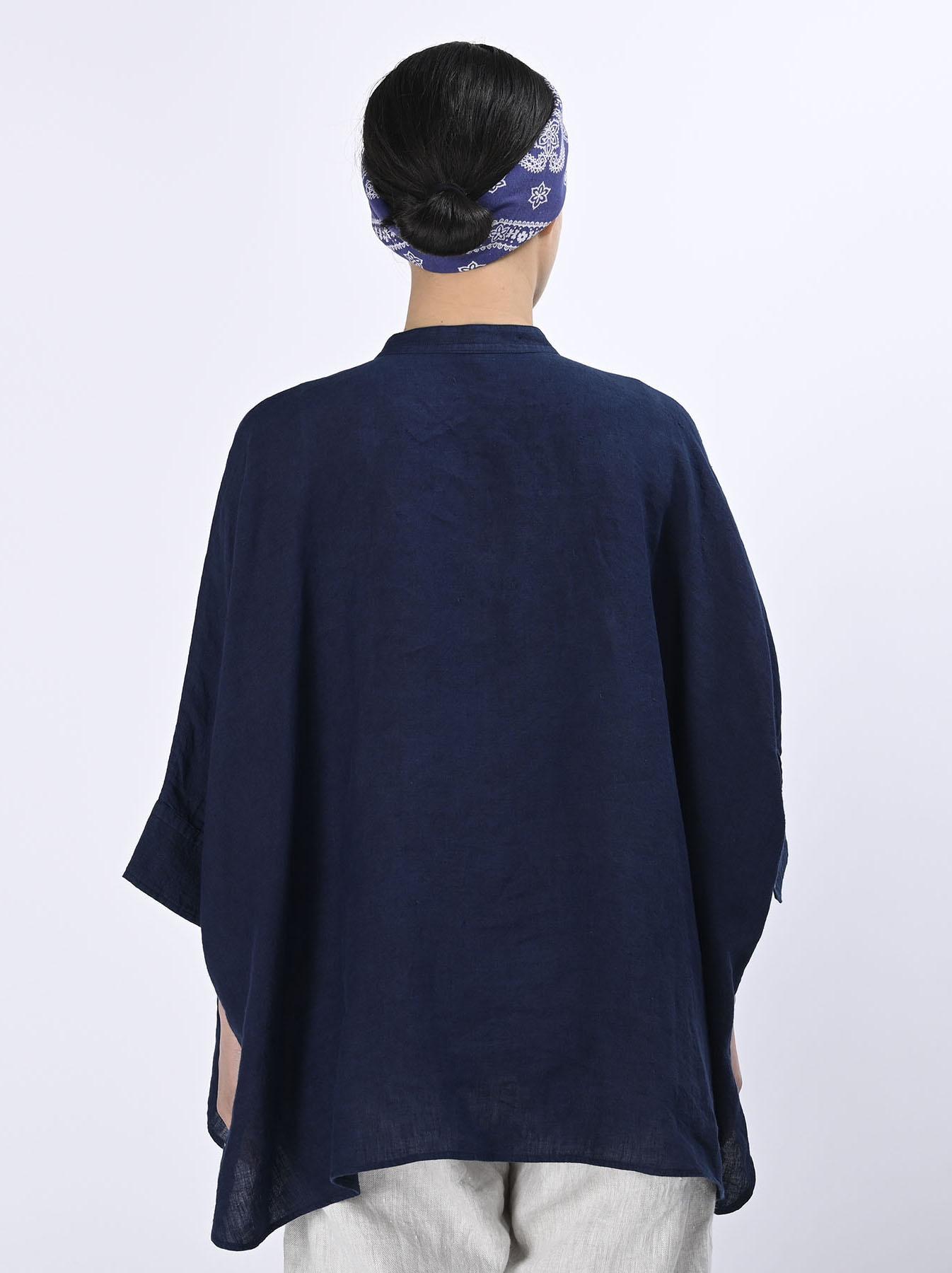 Indigo Indian Linen Flat Big Shirt (0521)-5