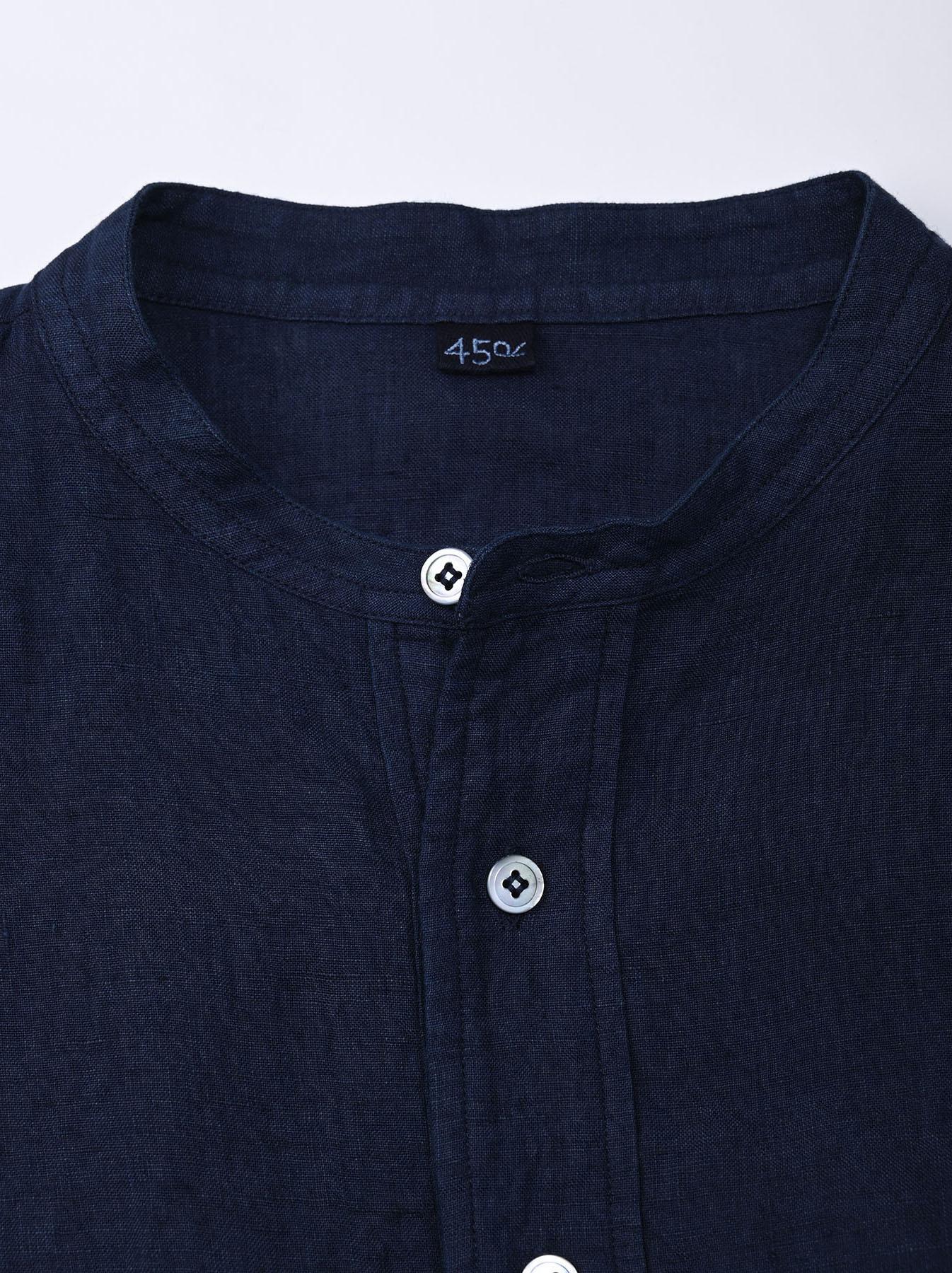 Indigo Indian Linen Flat Big Shirt (0521)-7