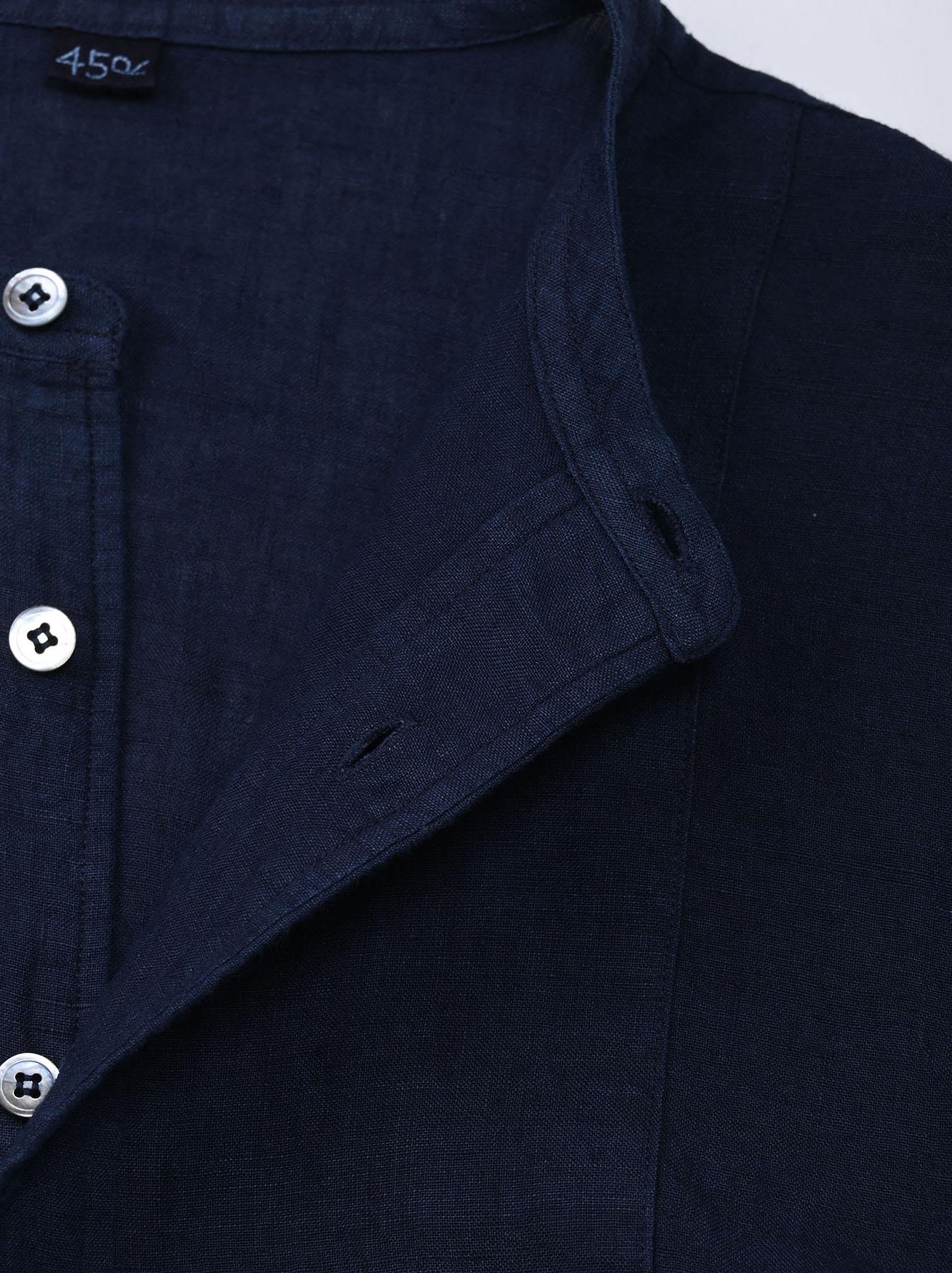 Indigo Indian Linen Flat Big Shirt (0521)-8
