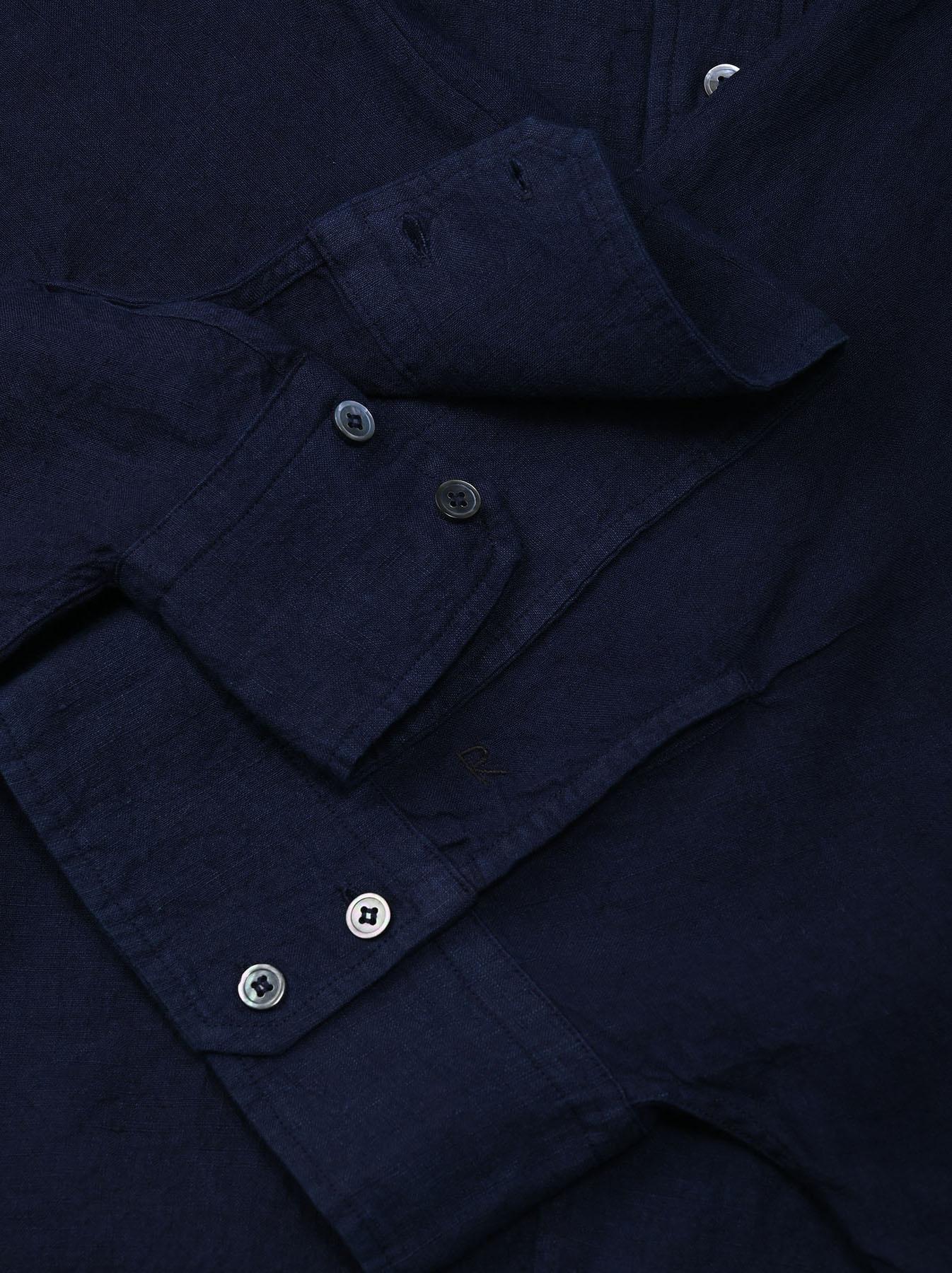 Indigo Indian Linen Flat Big Shirt (0521)-9