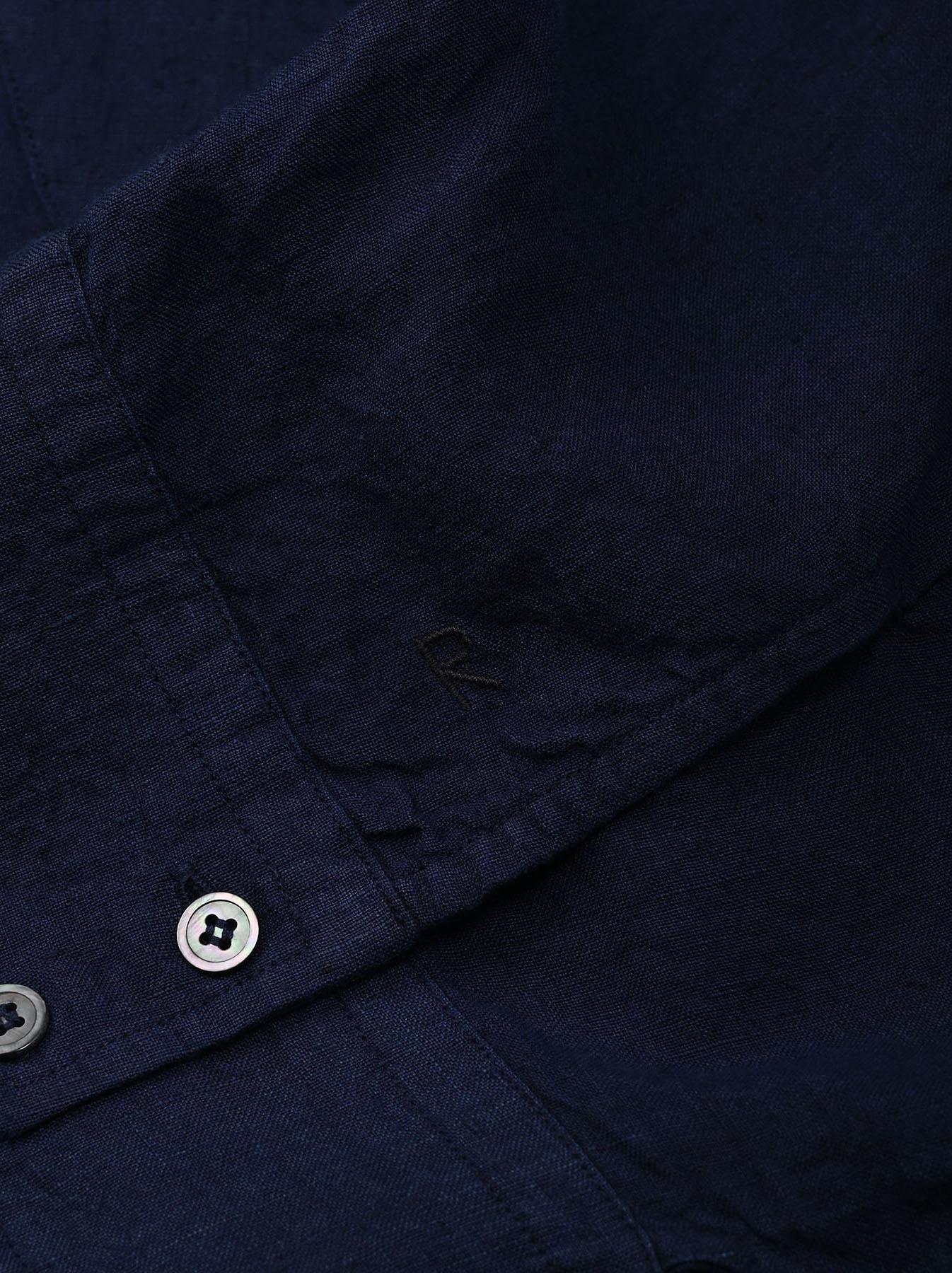 Indigo Indian Linen Flat Big Shirt (0521)-10