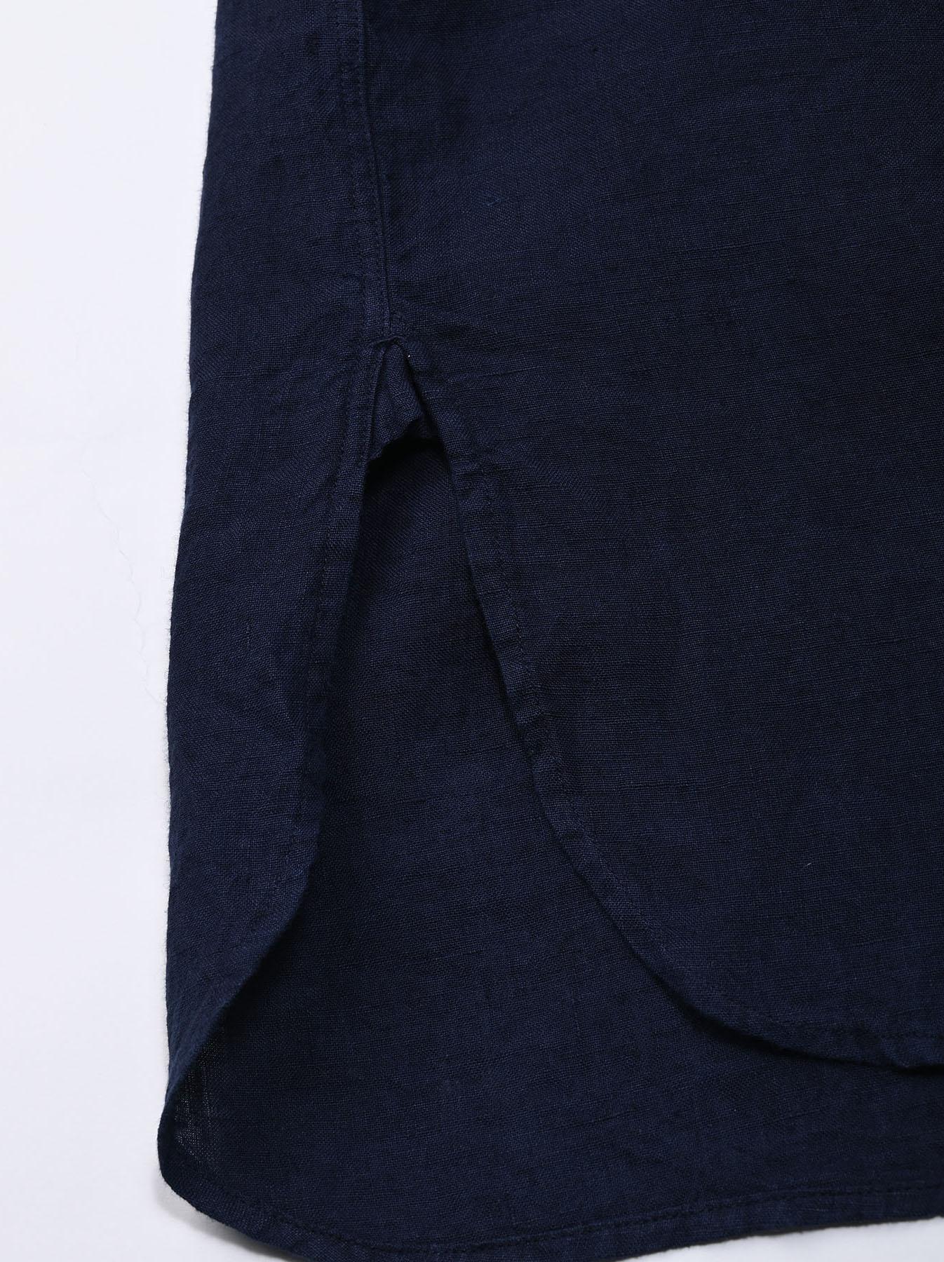 Indigo Indian Linen Flat Big Shirt (0521)-11