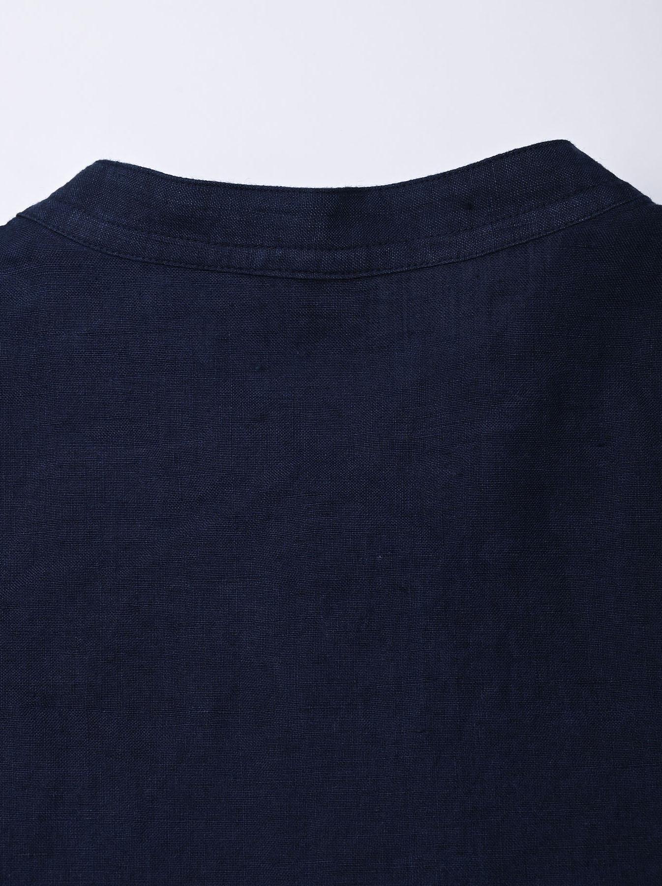 Indigo Indian Linen Flat Big Shirt (0521)-12