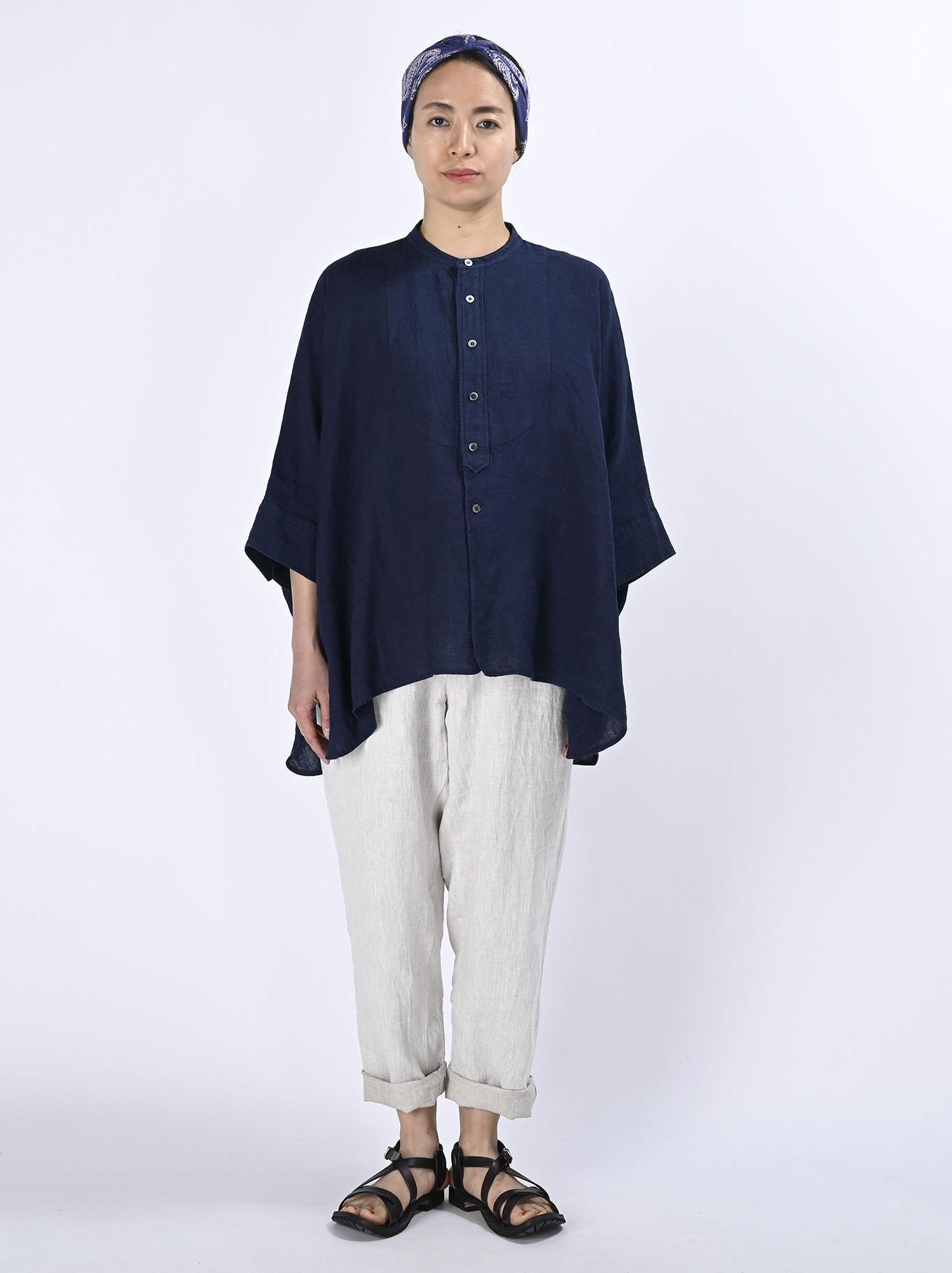 Indigo Indian Linen Flat Big Shirt (0521)-2