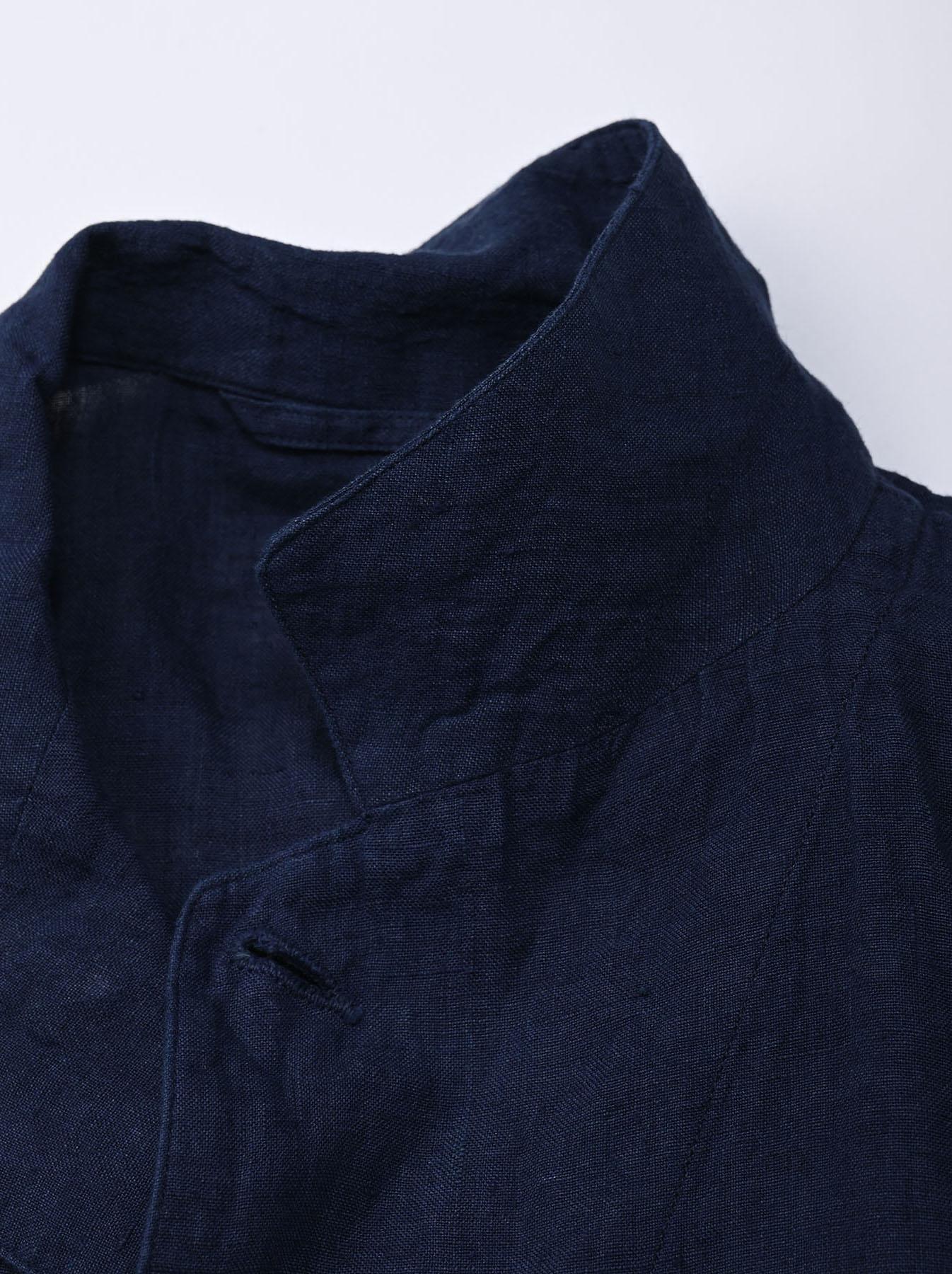 Indigo Indian Linen Flat Shirt Jacket (0521)-8