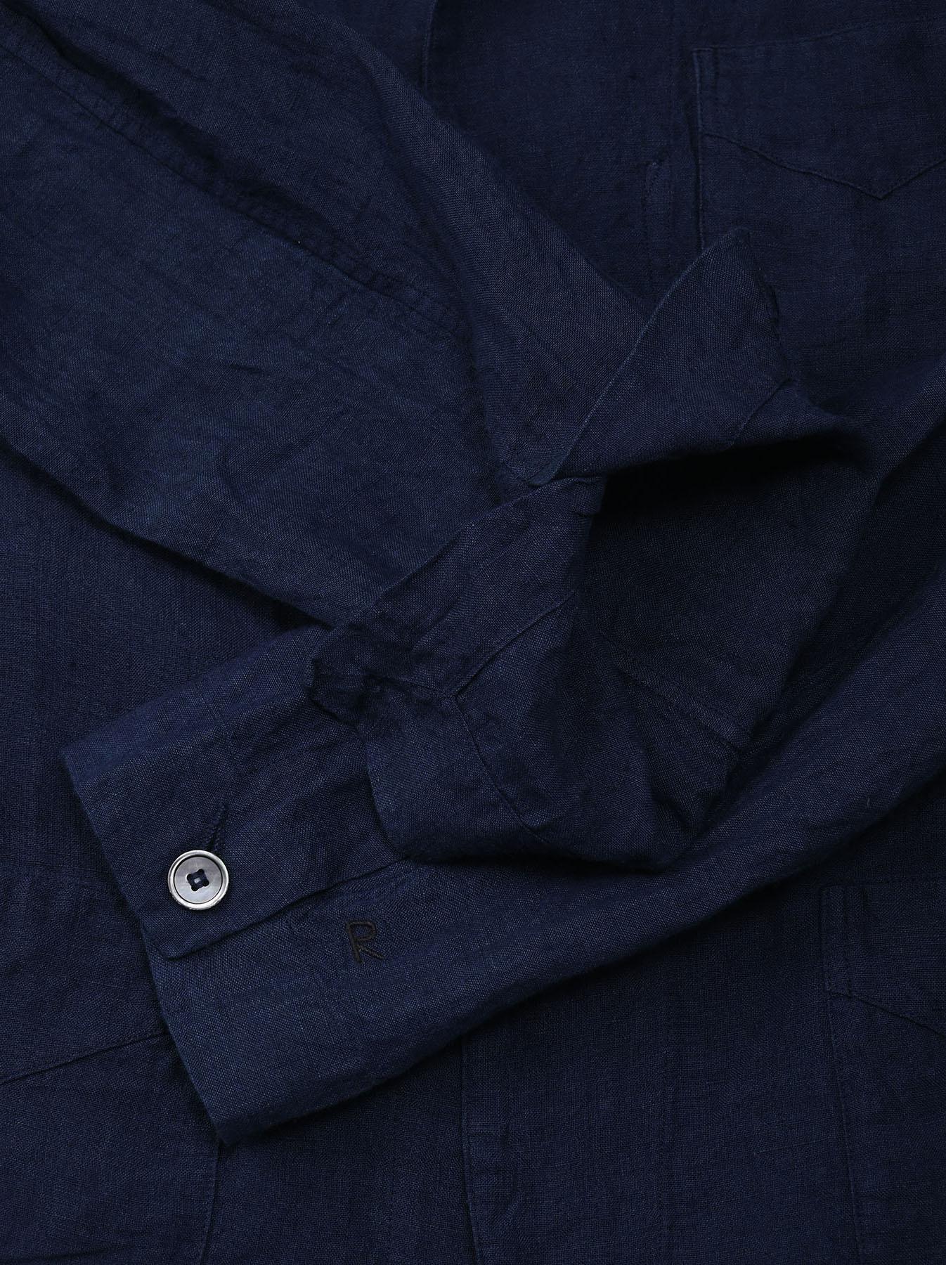 Indigo Indian Linen Flat Shirt Jacket (0521)-9