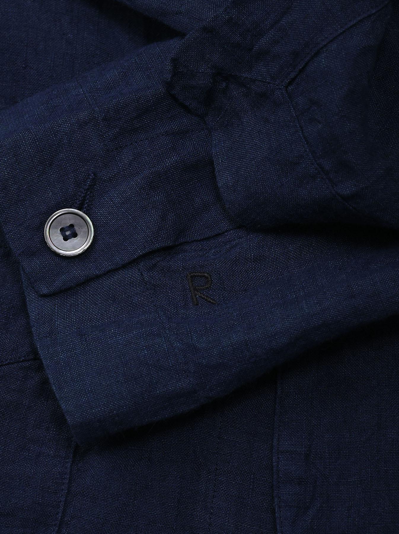 Indigo Indian Linen Flat Shirt Jacket (0521)-10