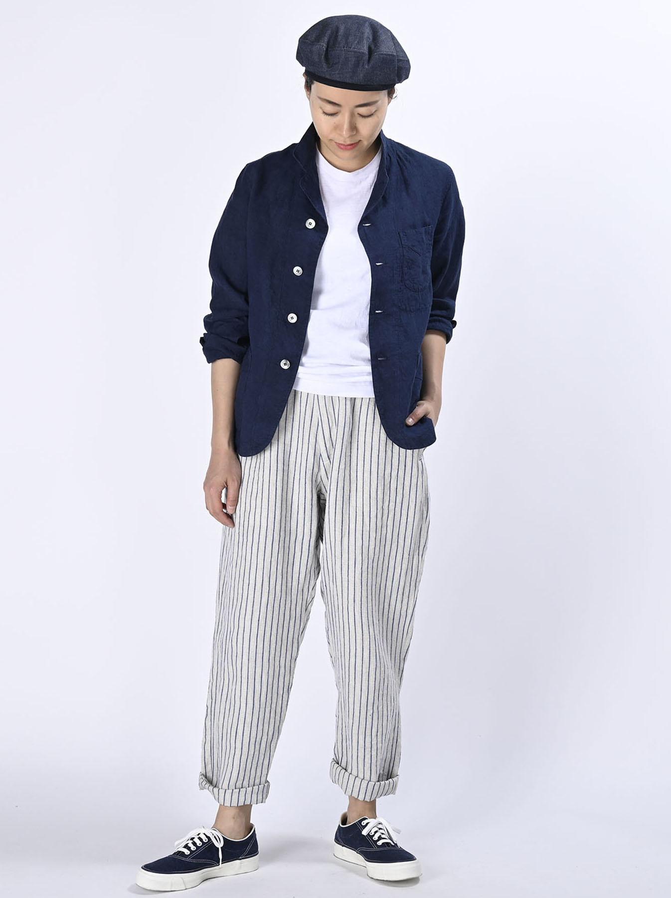 Indigo Indian Linen Flat Shirt Jacket (0521)-2