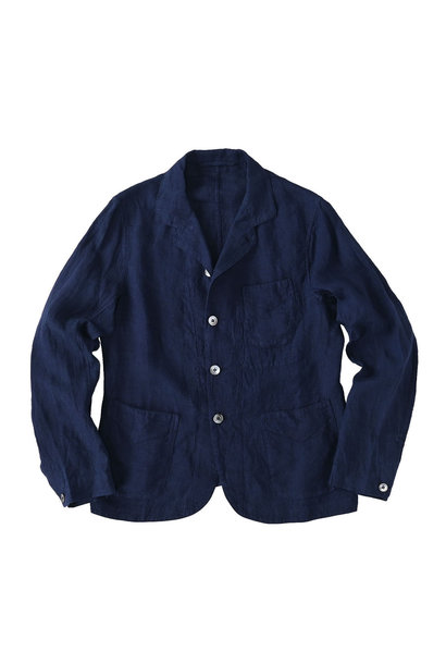 Indigo Indian Linen Flat Shirt Jacket (0521)