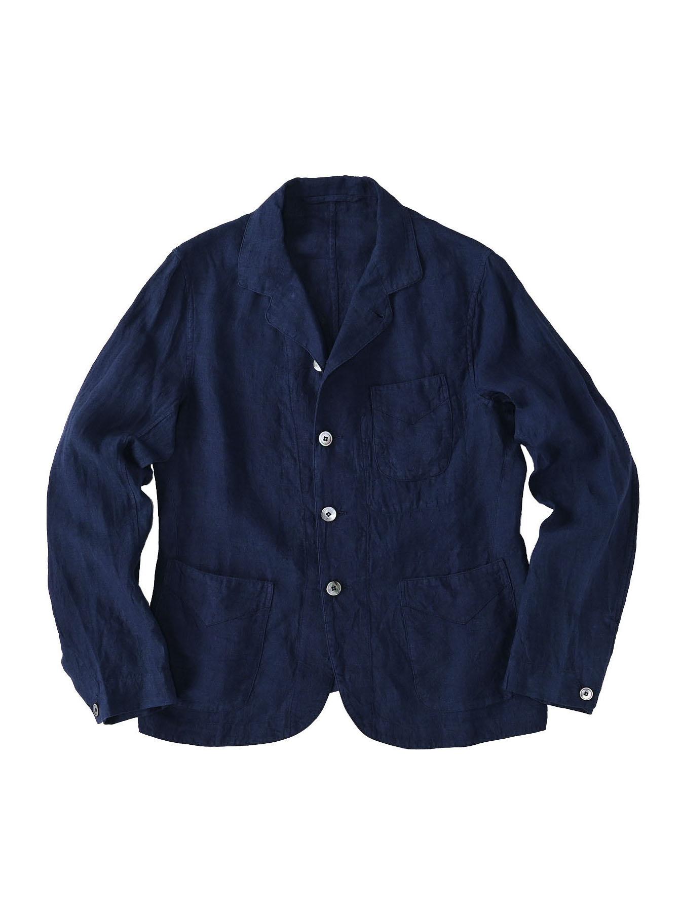 Indigo Indian Linen Flat Shirt Jacket (0521)-1