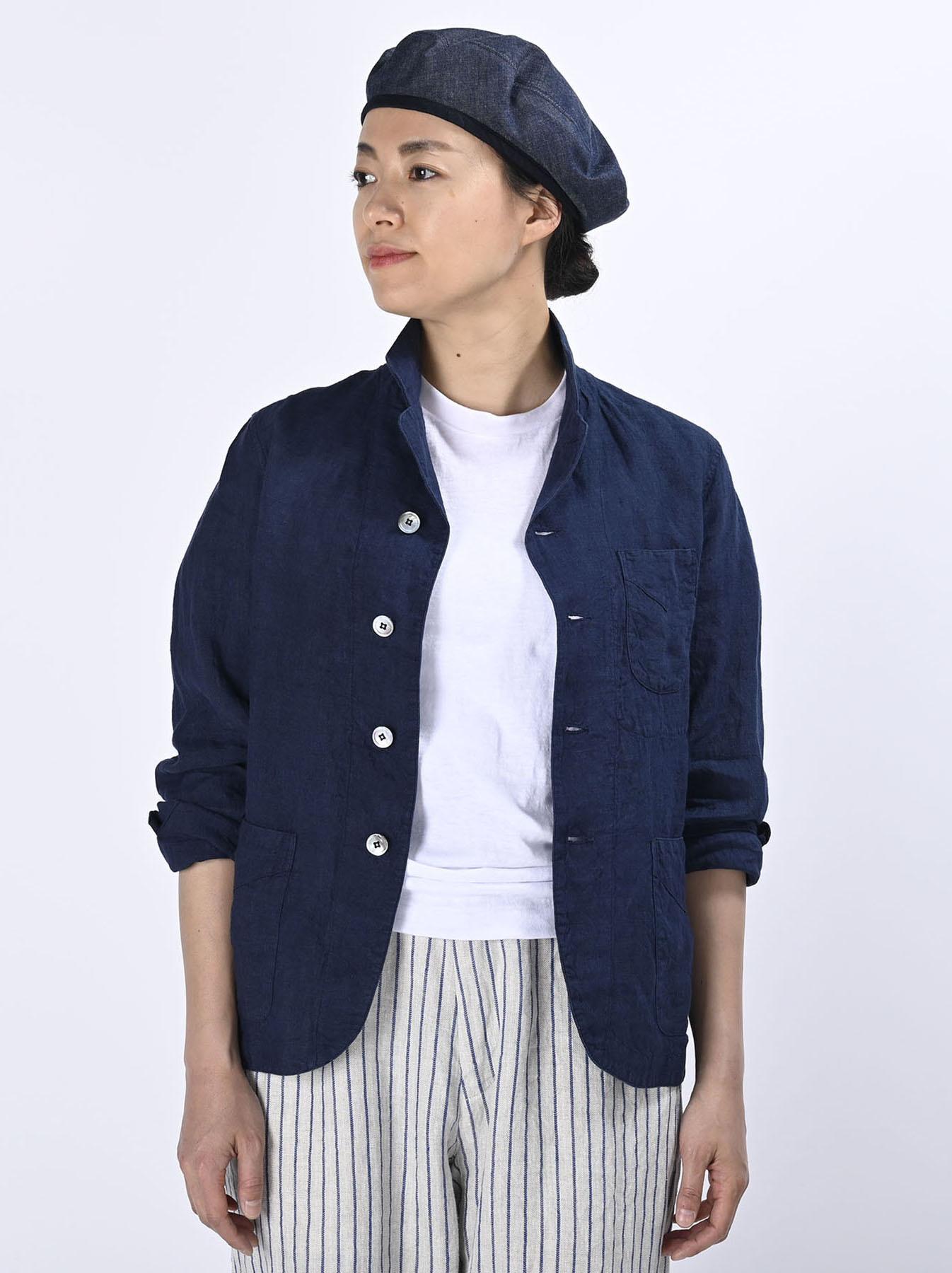 Indigo Indian Linen Flat Shirt Jacket (0521)-3