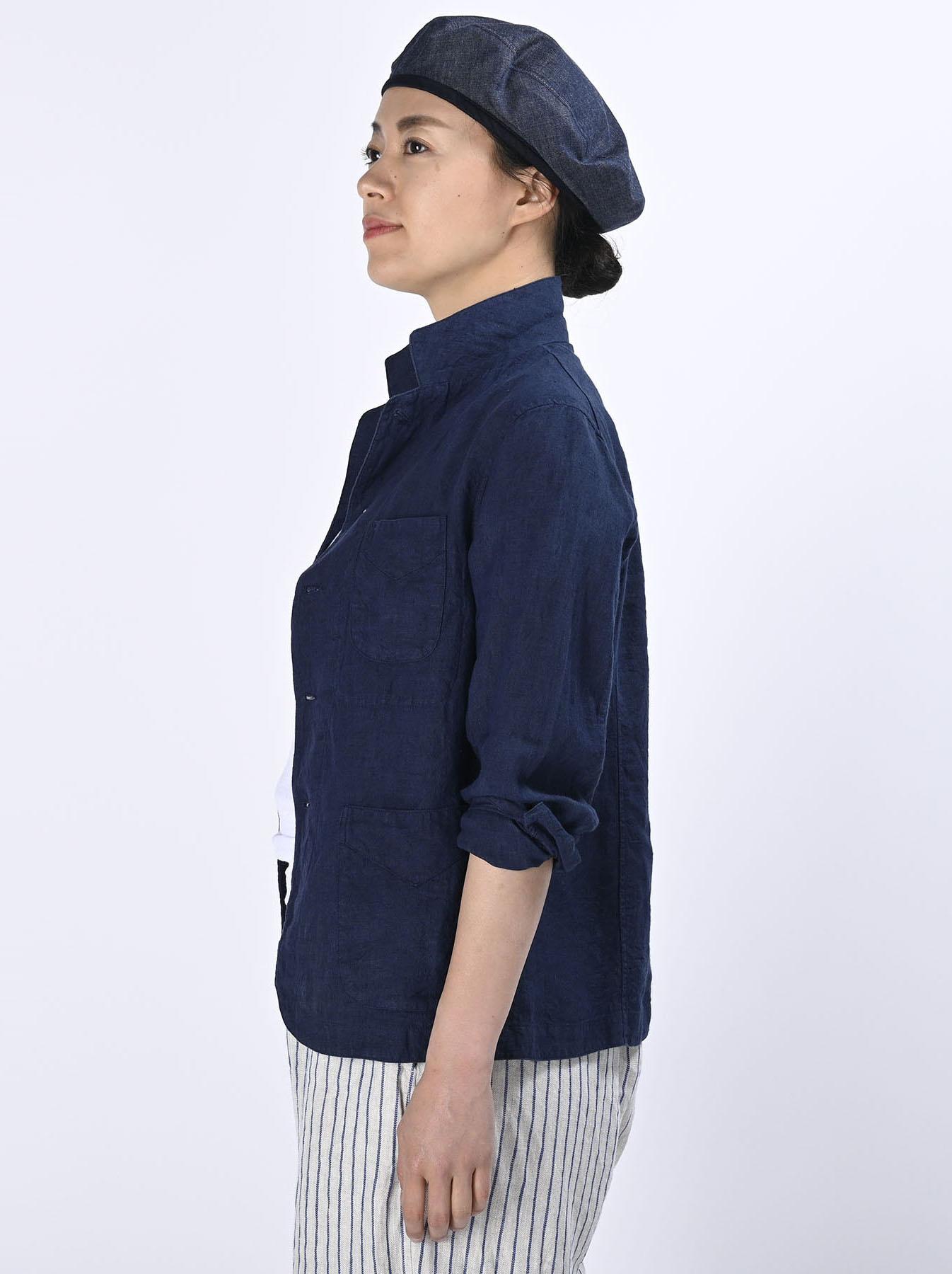 Indigo Indian Linen Flat Shirt Jacket (0521)-4