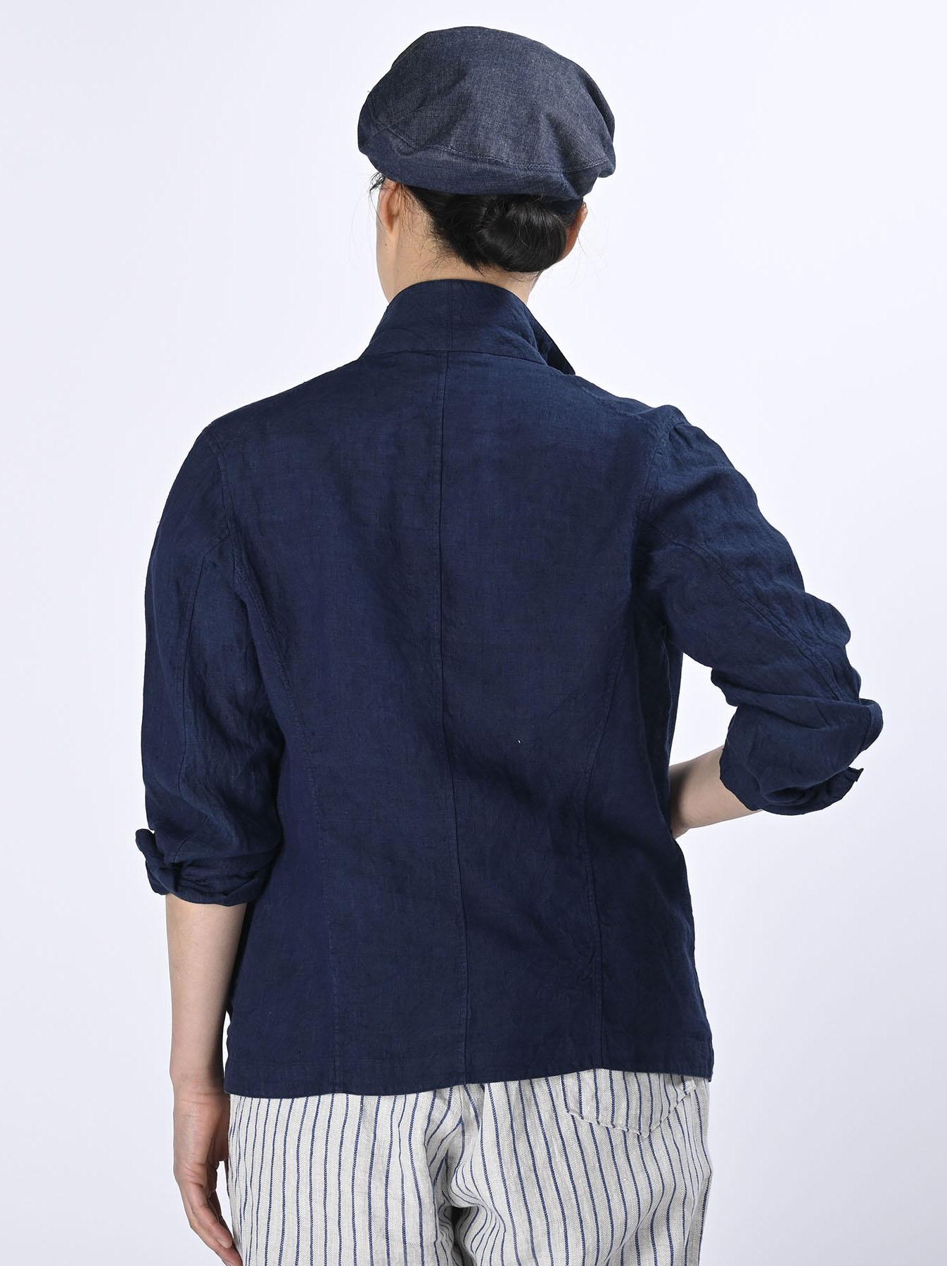 Indigo Indian Linen Flat Shirt Jacket (0521)-5