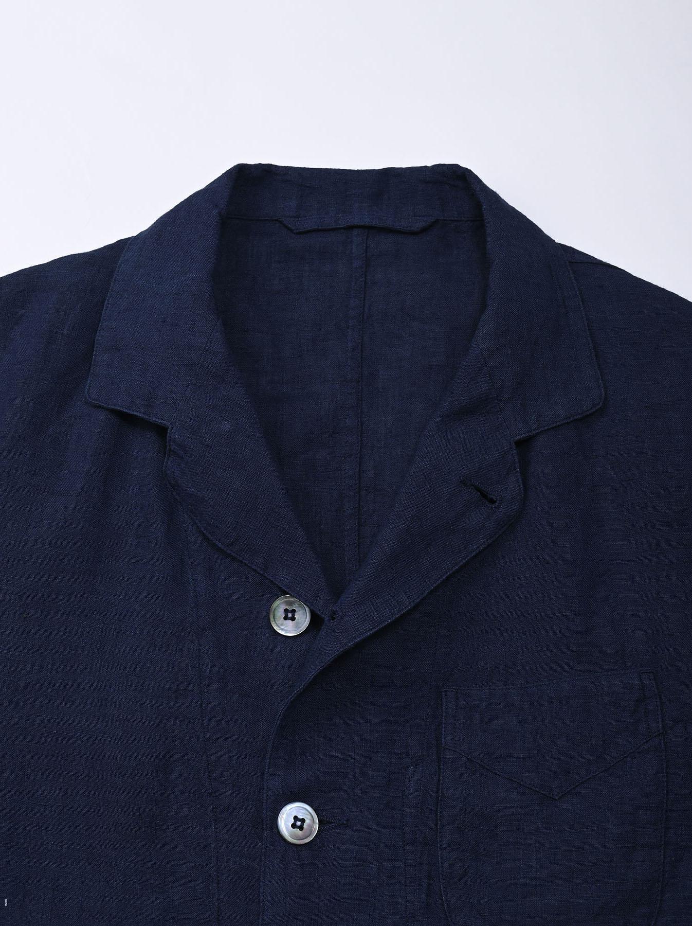 Indigo Indian Linen Flat Shirt Jacket (0521)-6
