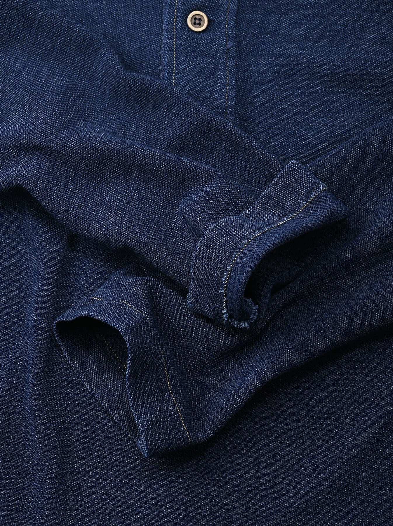 Indigo Kanoko Shiokaze Long-sleeved Square Polo Shirt (0521)-10
